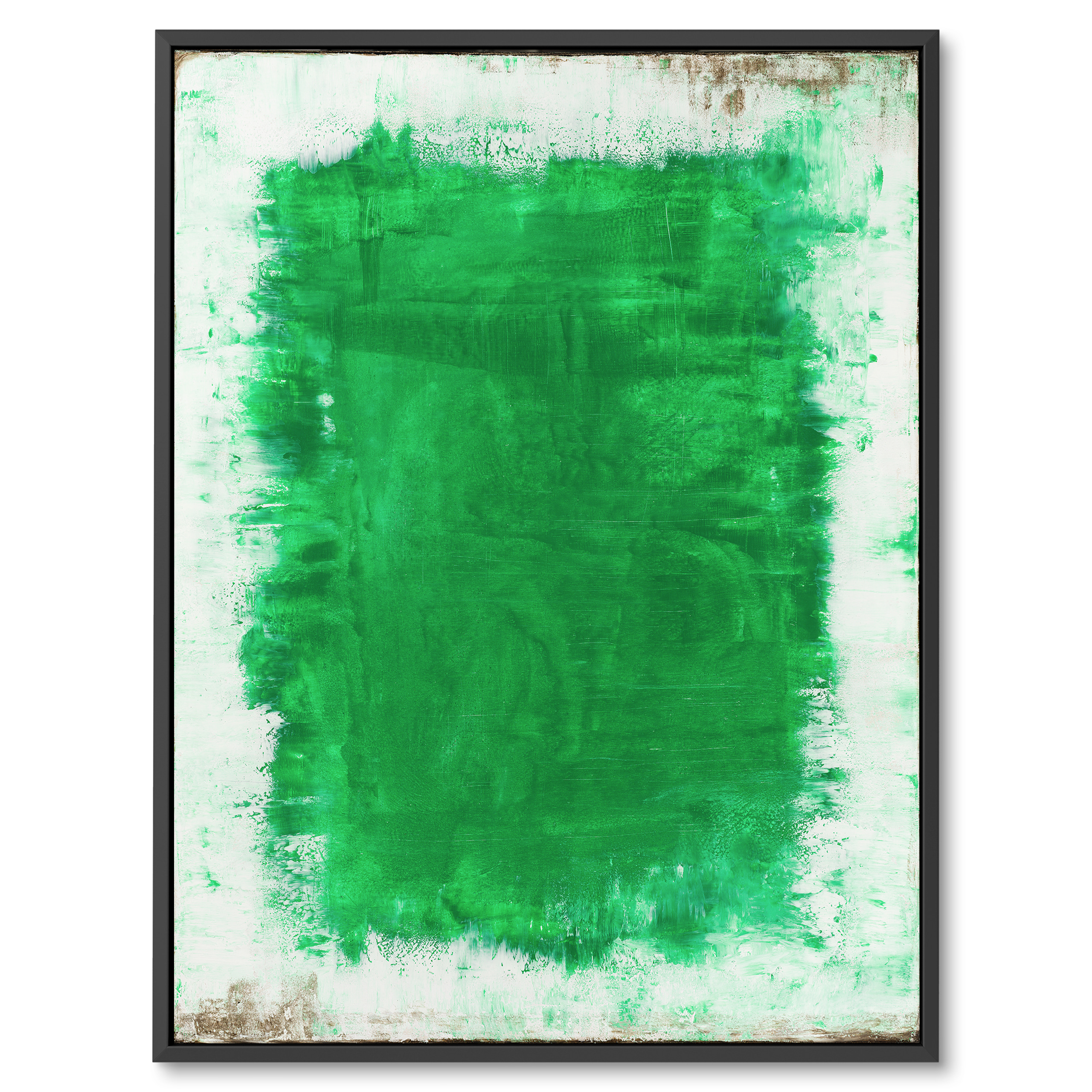Modern contemporary abstract art on canvas framed, White and green, Green hole by Benny Moshe