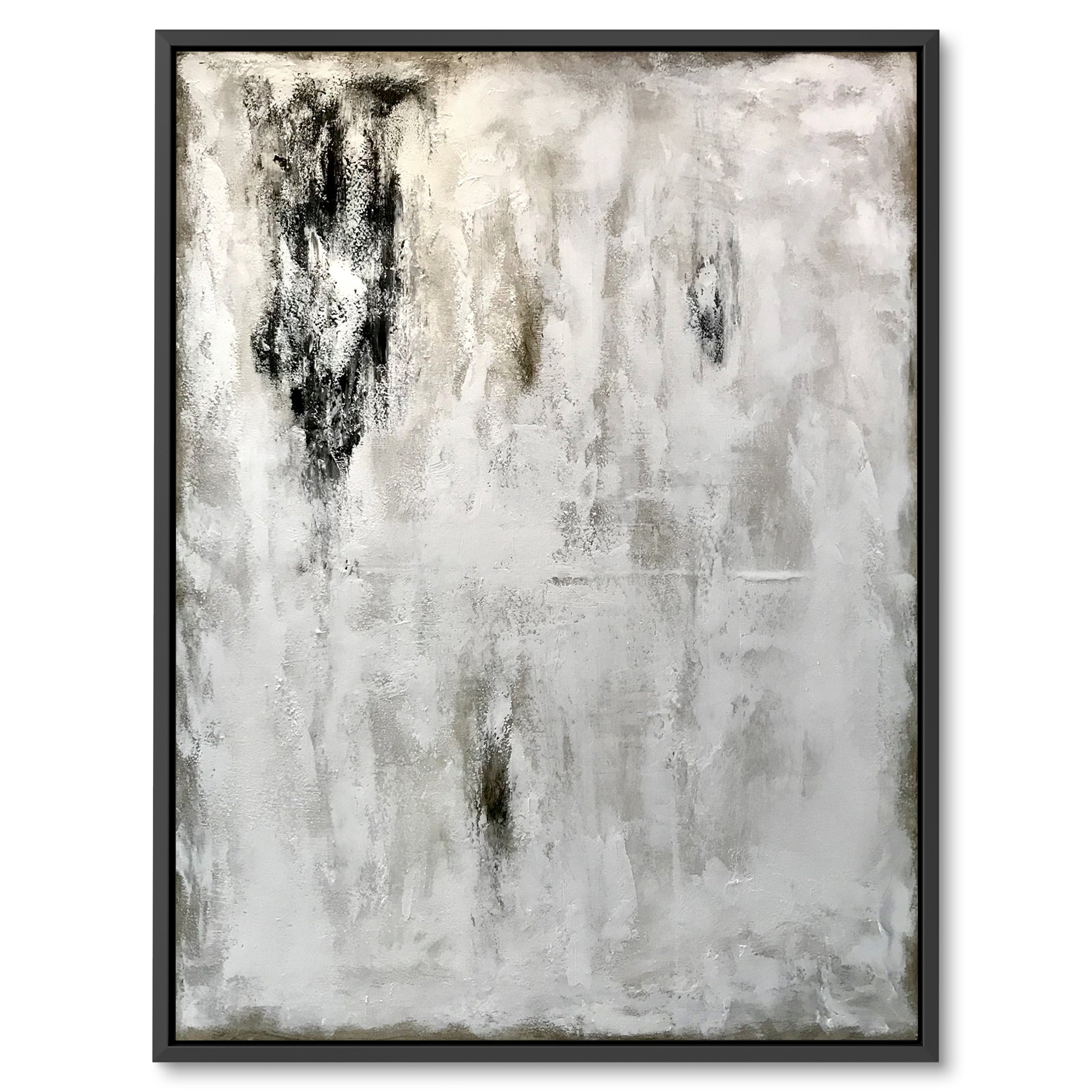 Black and white abstract art painting by Benny Moshe. for home decor