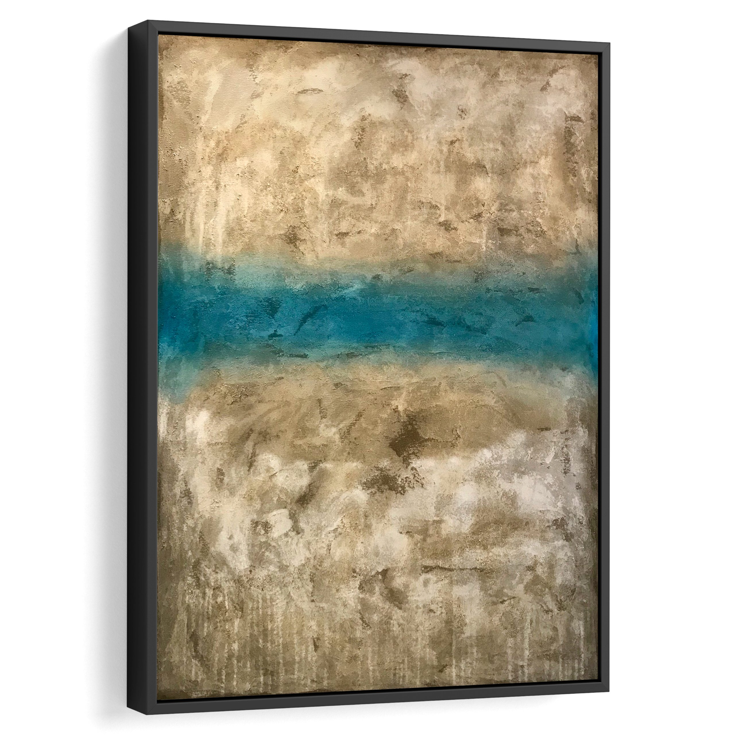 Beige and blue modern art in a black frame 3d view, For wall decoration and interior design