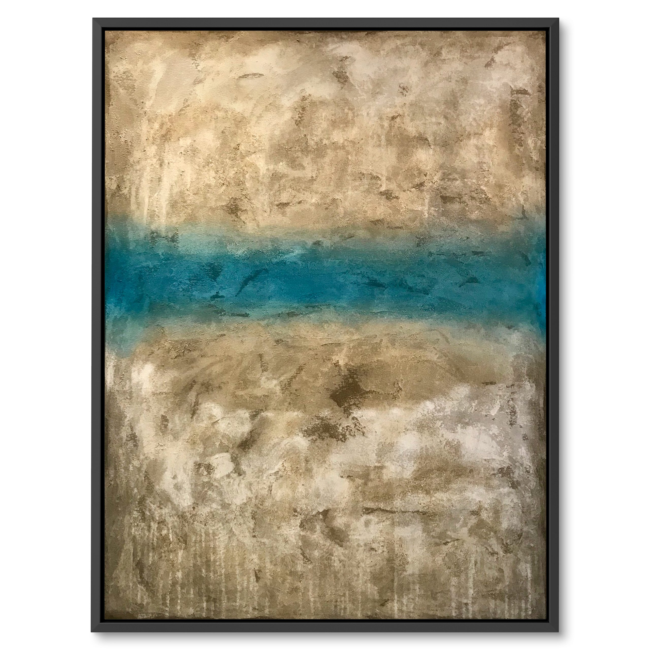 Biege and light blue abstract art by benny moshe for sale. Perfect for wall decor