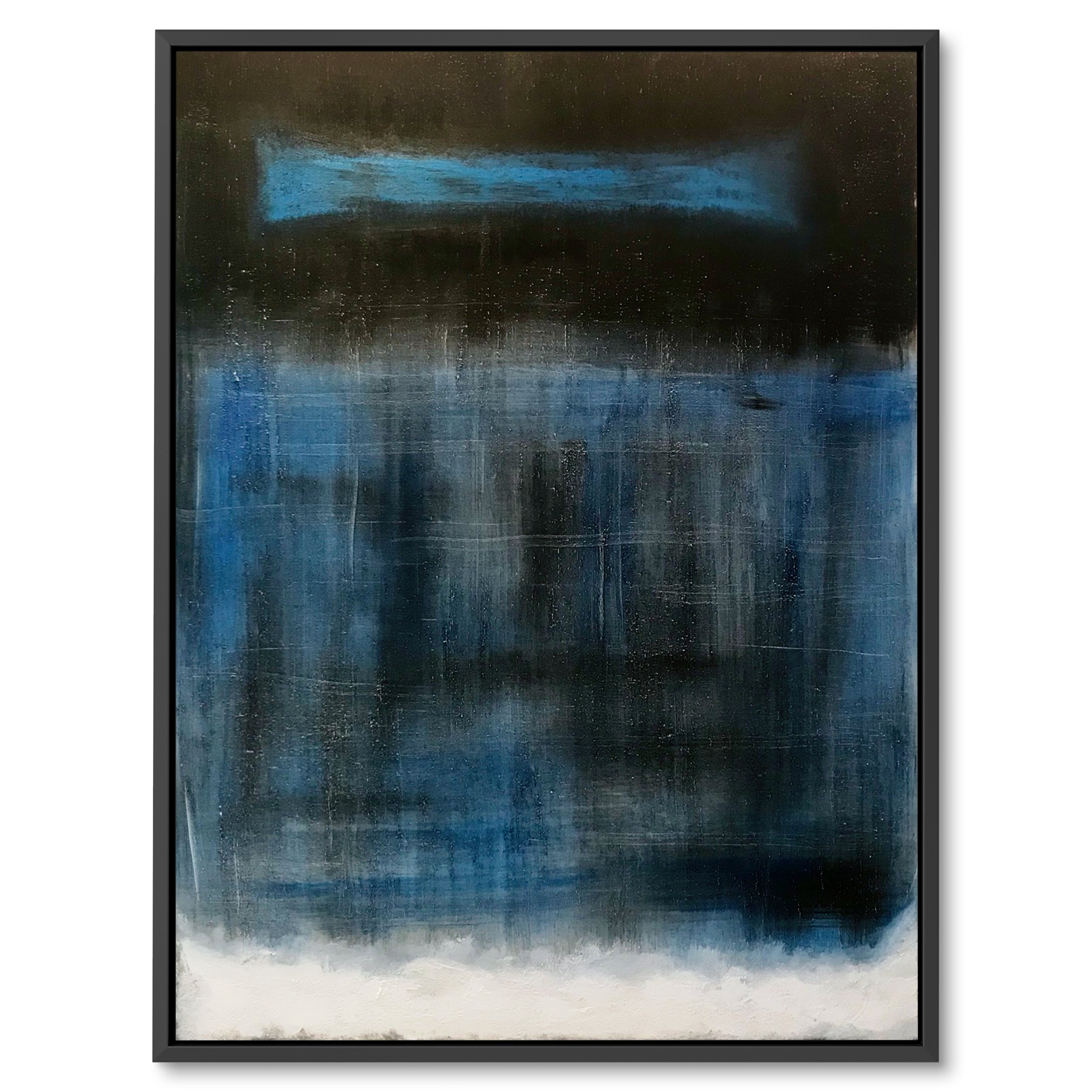 Black, White and blue abstract art By Benny Moshe, Interior design