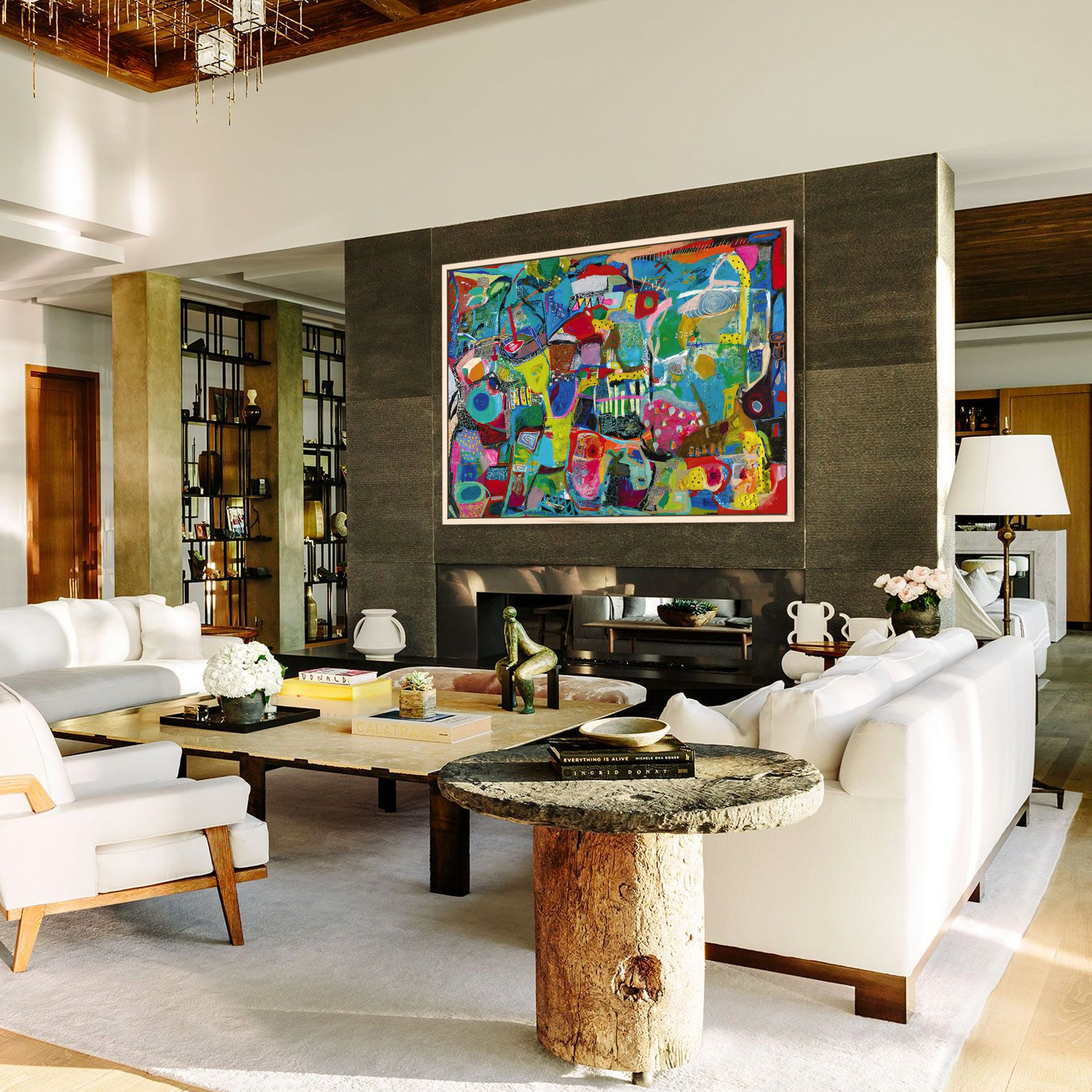 Home decor inspiration - abstract art in living room interior design