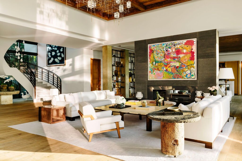 Colorful abstract art in a modern home designed with wood