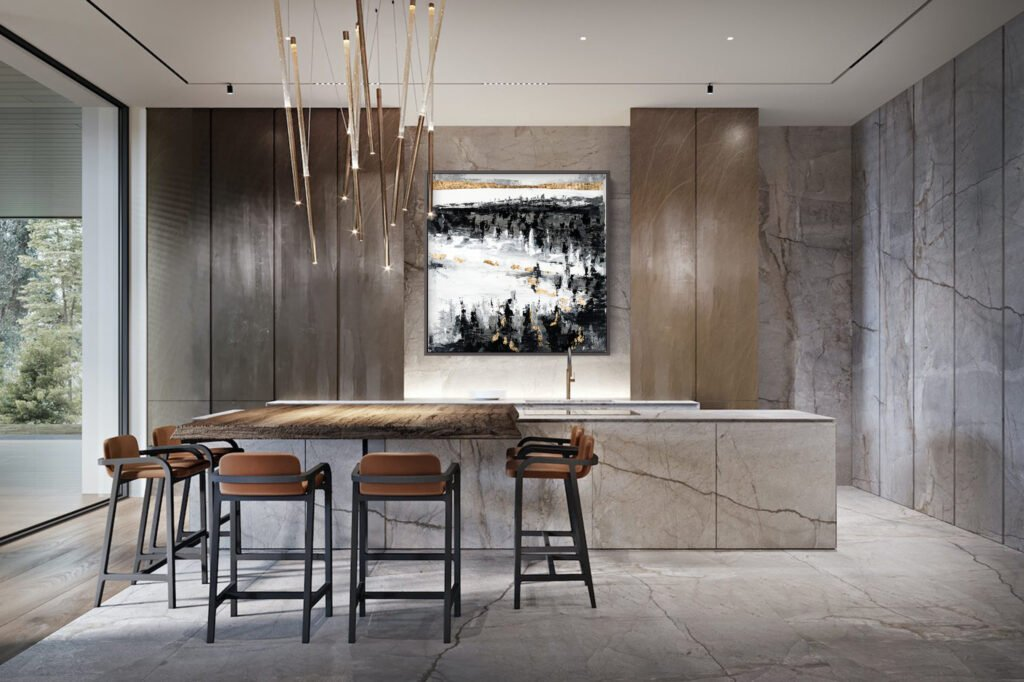 abstract art in dining room