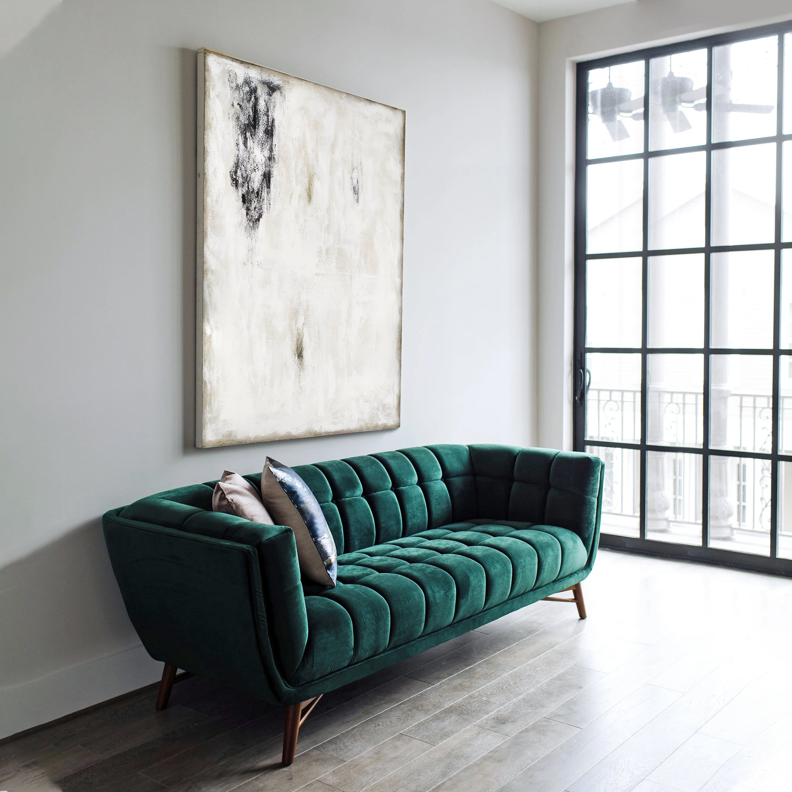Black and white abstract art over sofa, Living room art