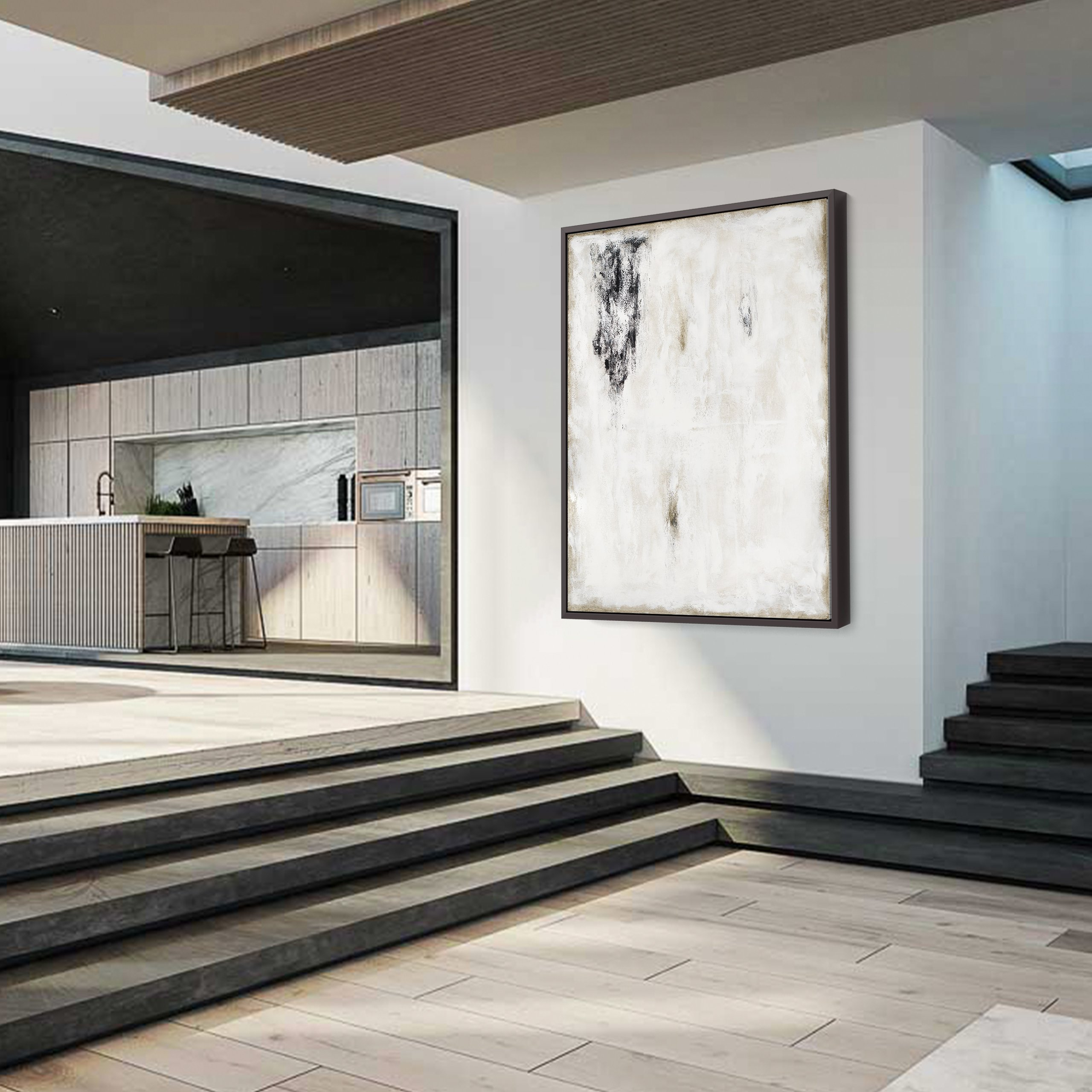 Black and white abstract art in modern home design