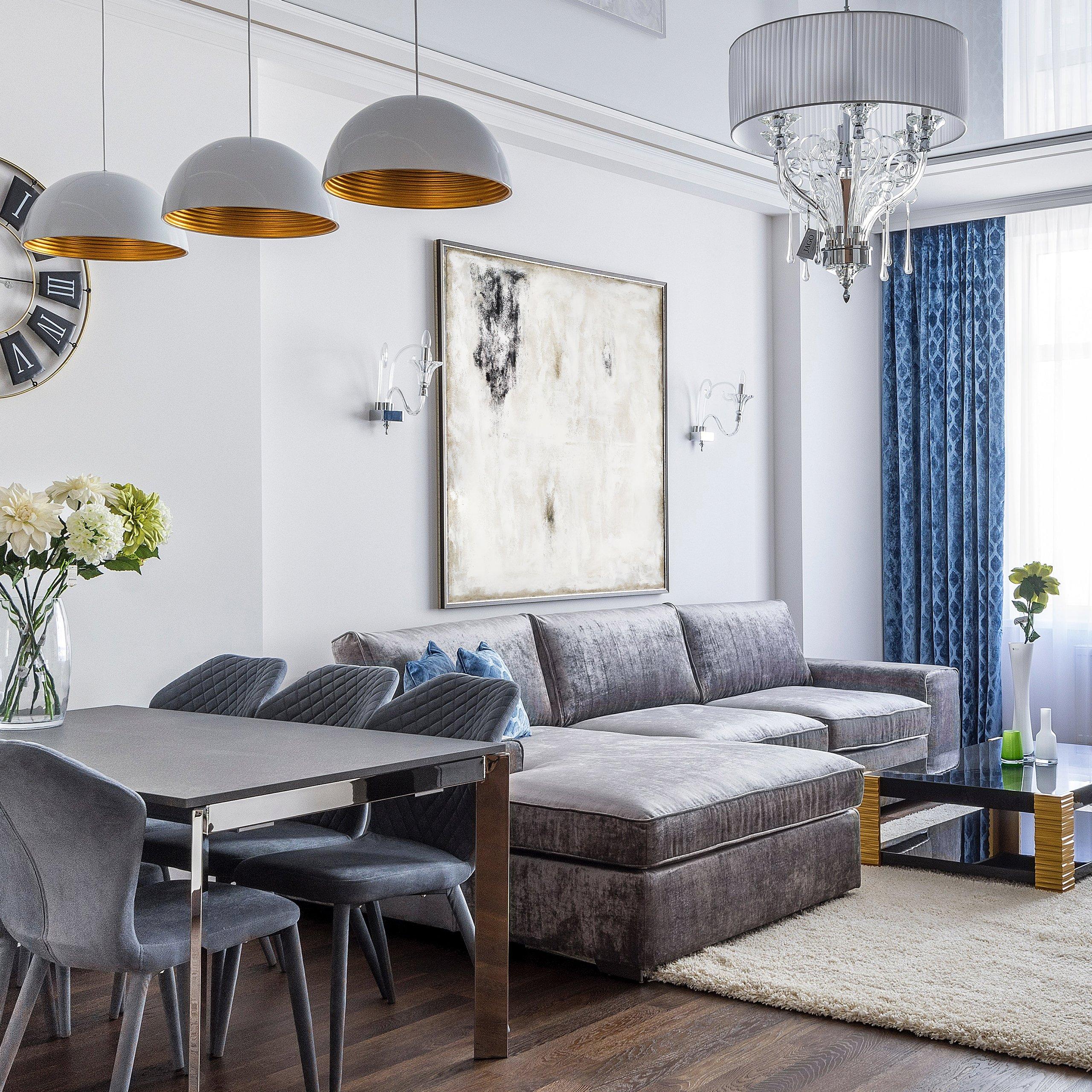 Black and white modern abstract art in modern interior design