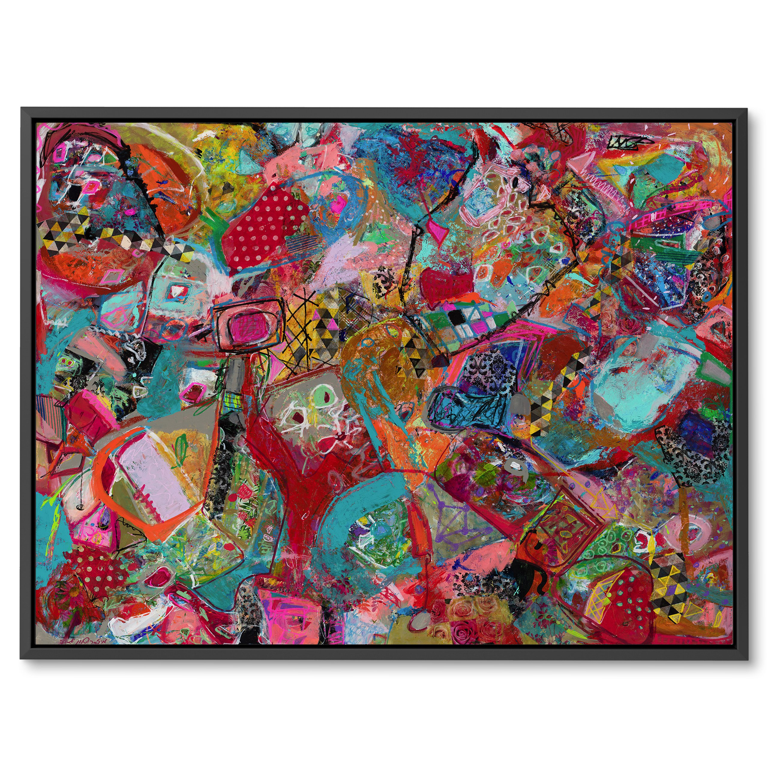 Mostly red modern abstract art on canvas for interior design, Childhood fragments by Michal Rotman Laor