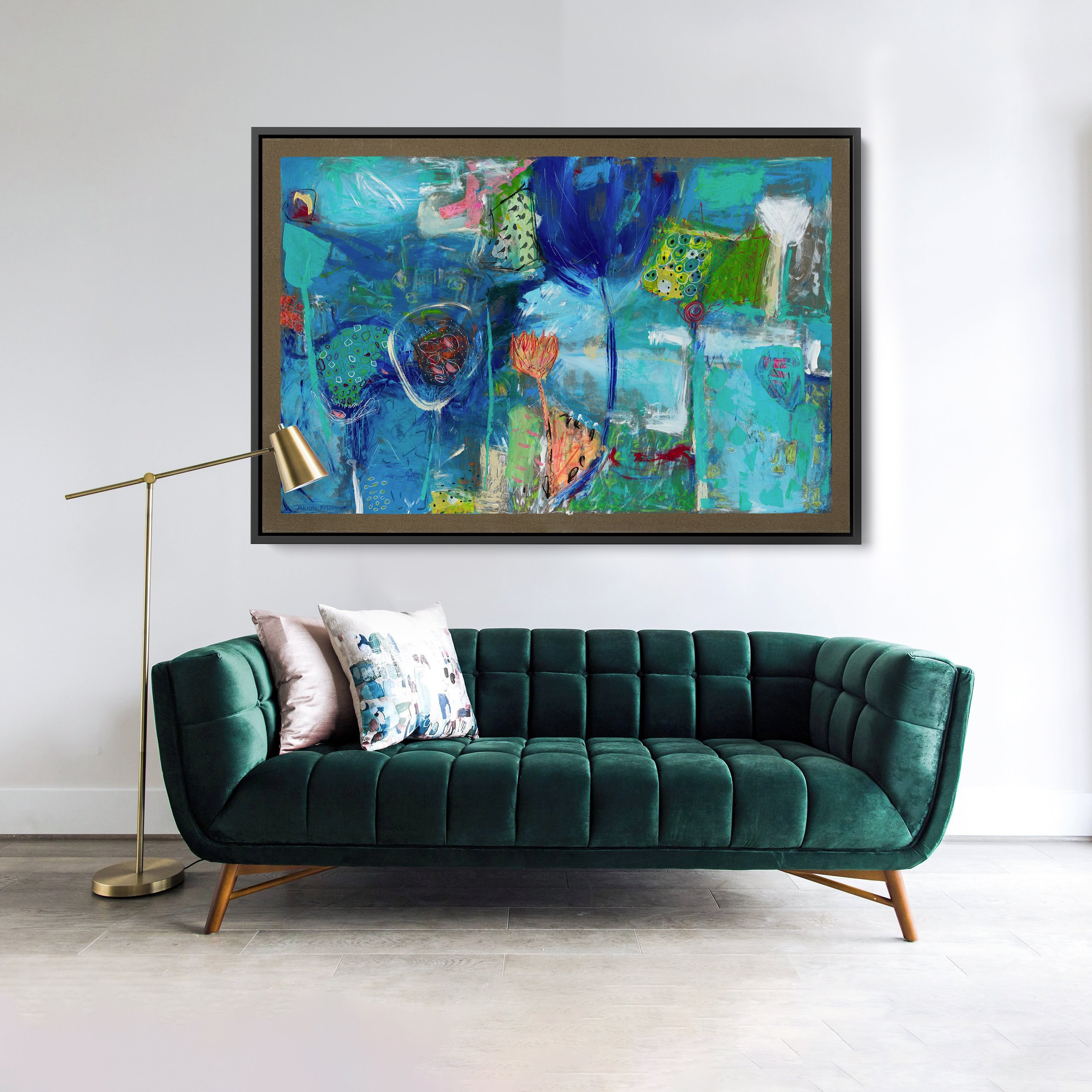 Abstract art featuring multiple shades of blue and earth tones. For home decor and interior design