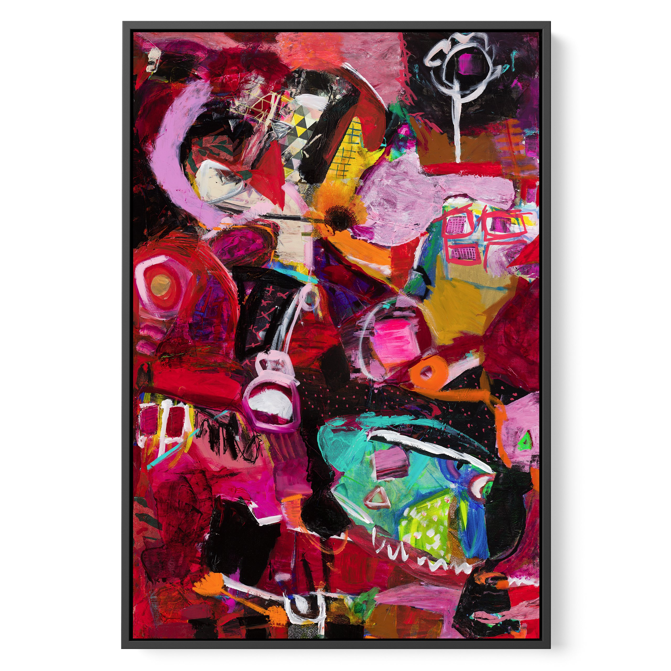 Contemporary, Framed modern abstract painting on canvas, Mostly red, Stronger than a storm by Michal Rotman Laor