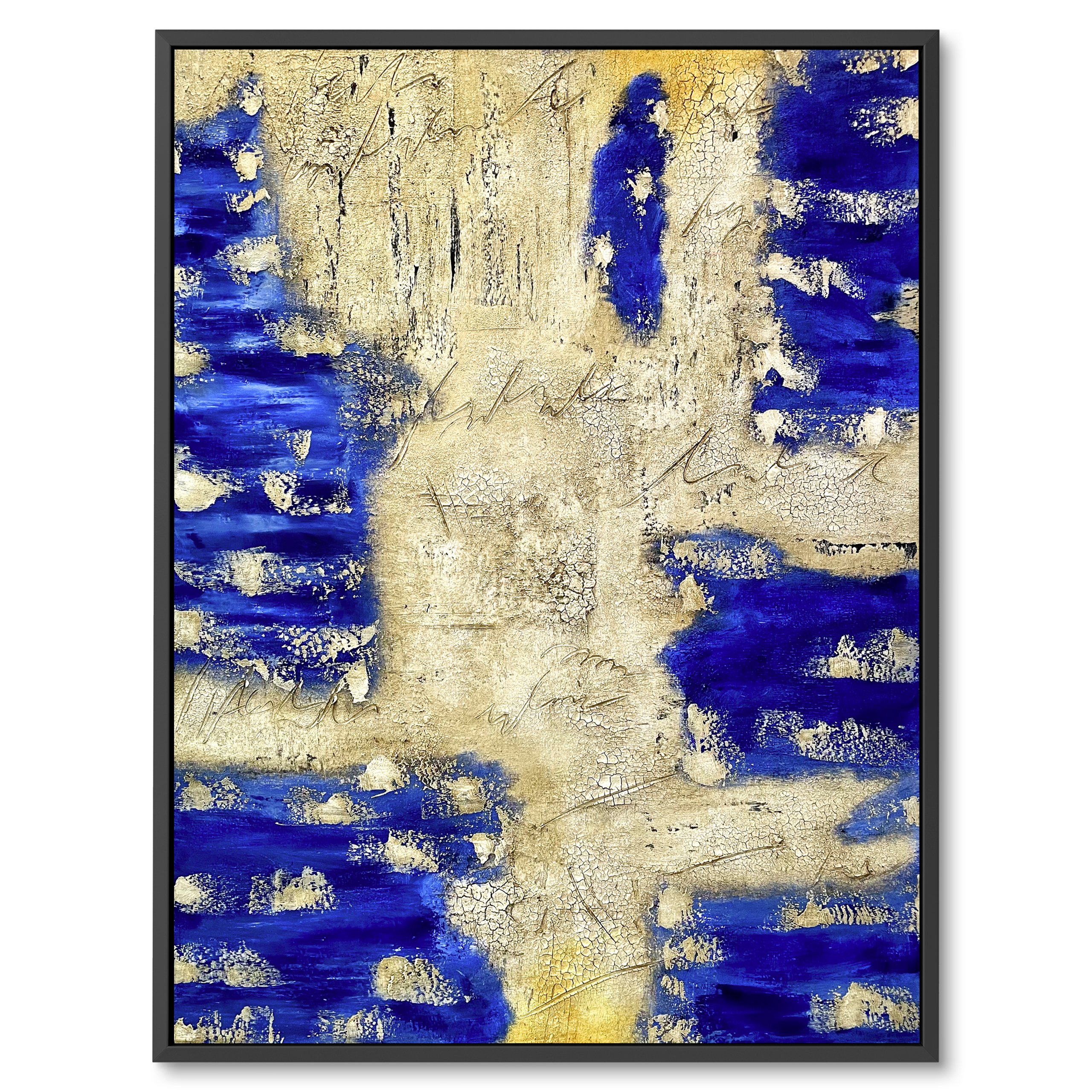 Modern abstract art, Dry leather like appearance, Dark blue for interior decor