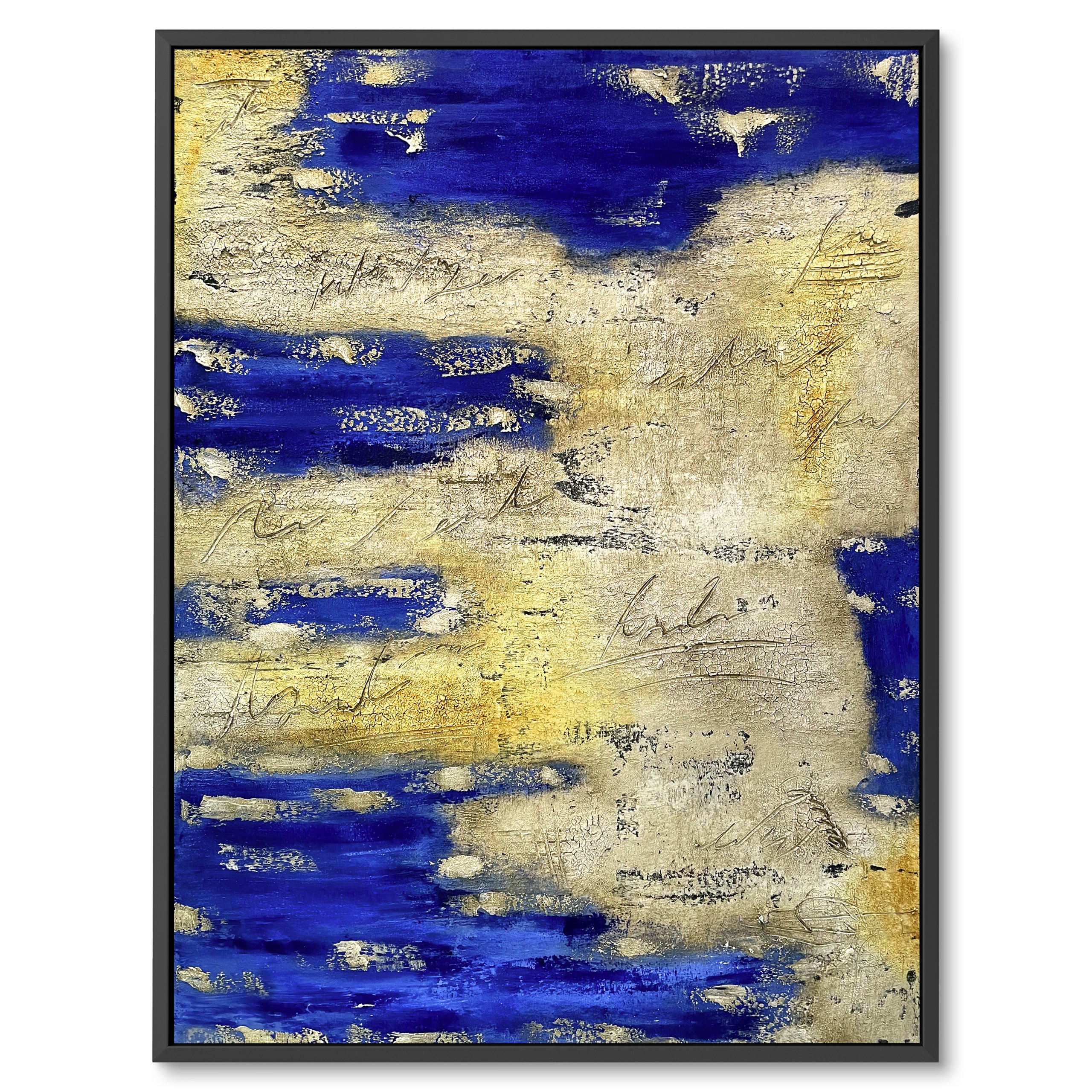 Modern abstract art, Dark blue, Navy, Leather like painting for interior design