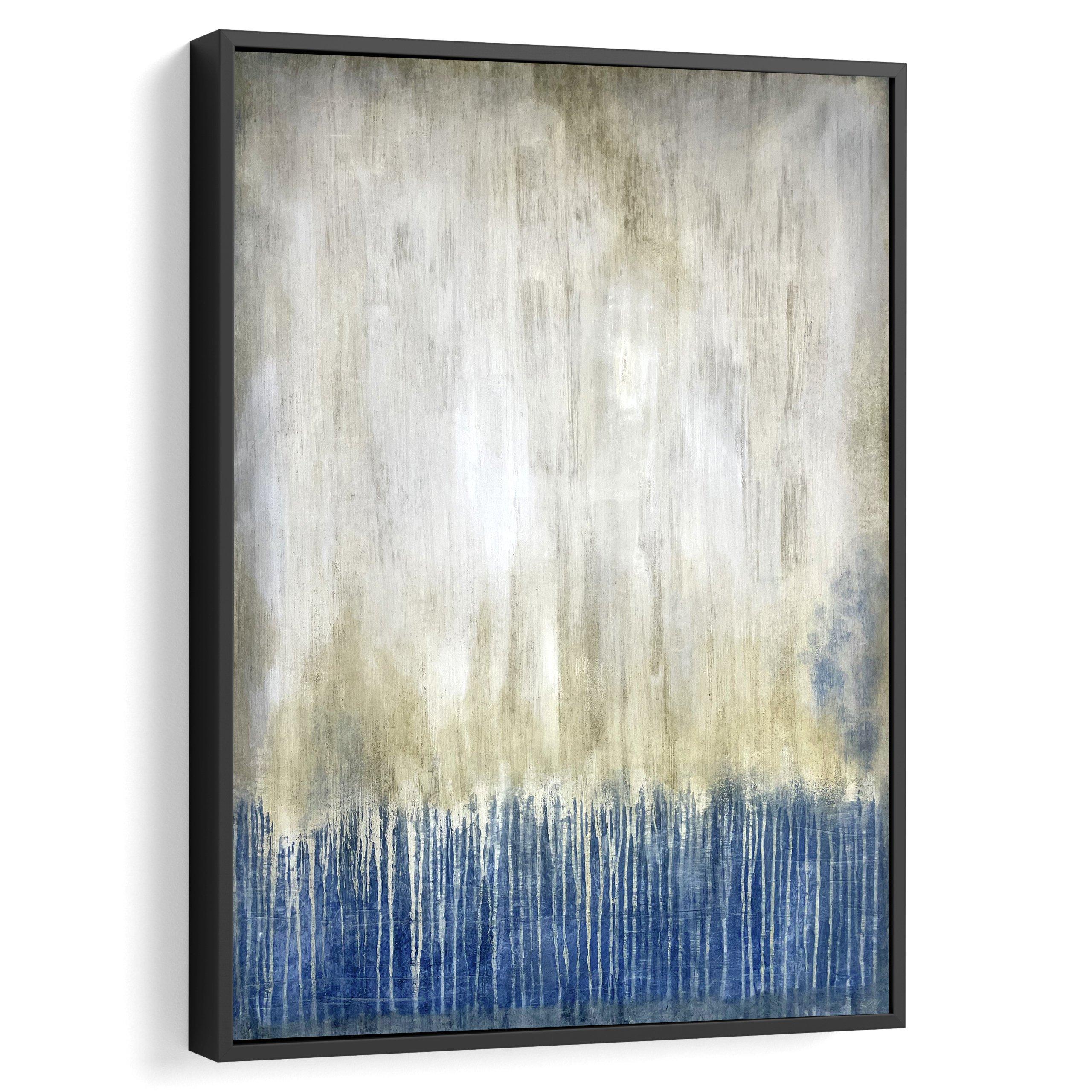Contemporary canvas farmed art. White and dark blue for home decor and interior design