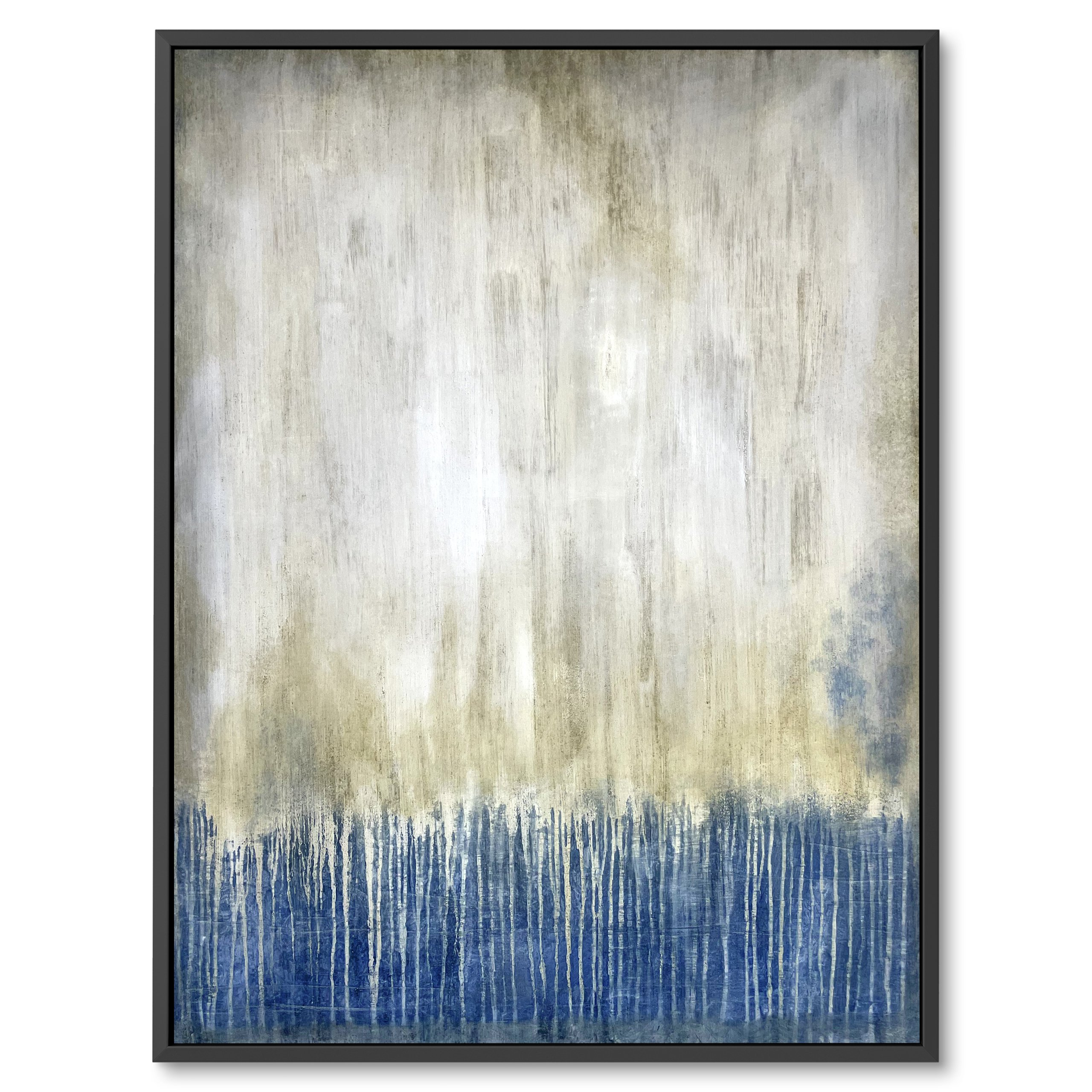 Modern canvas art, White and blue, Rain painting, Water poring