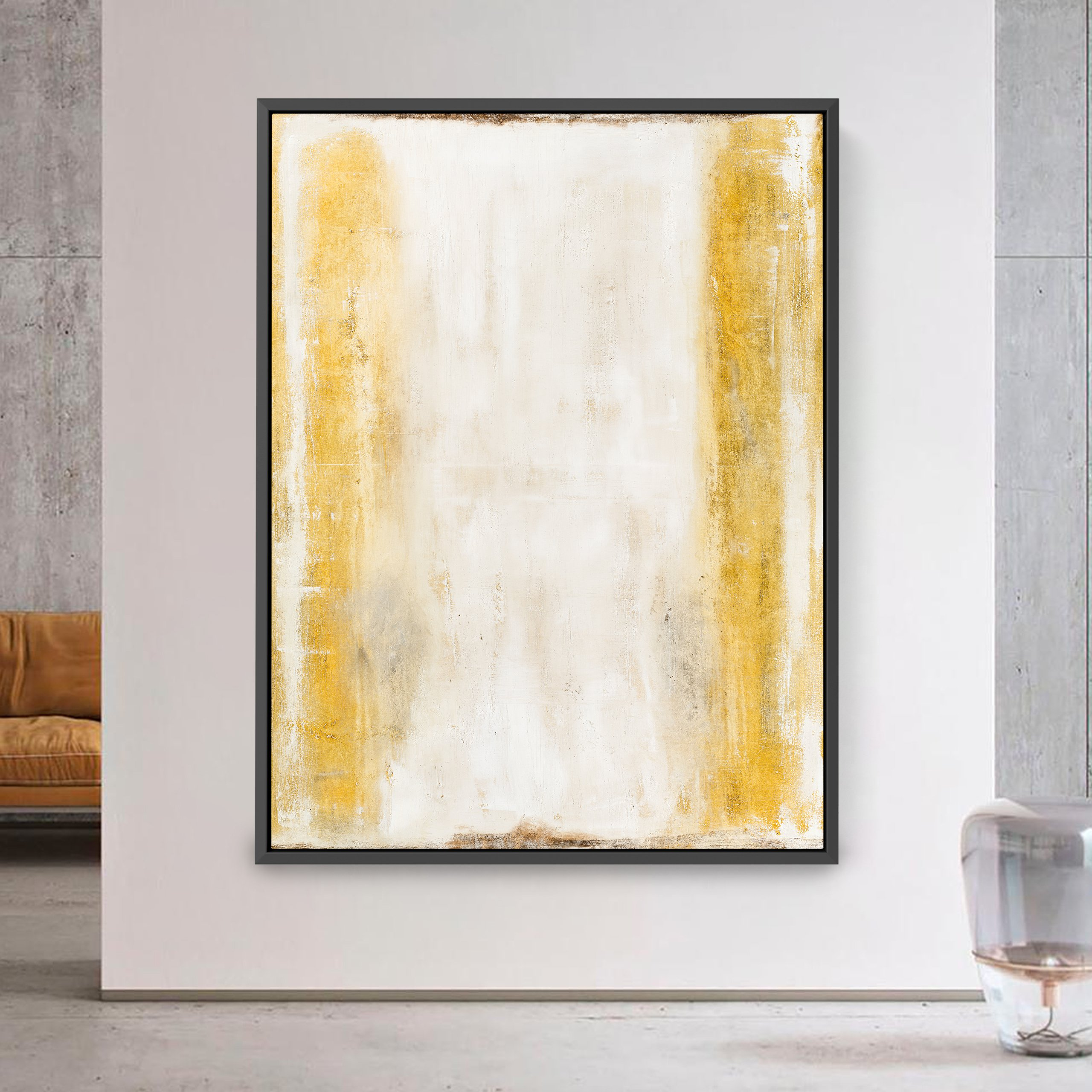 White and gold abstract wall art for interior design