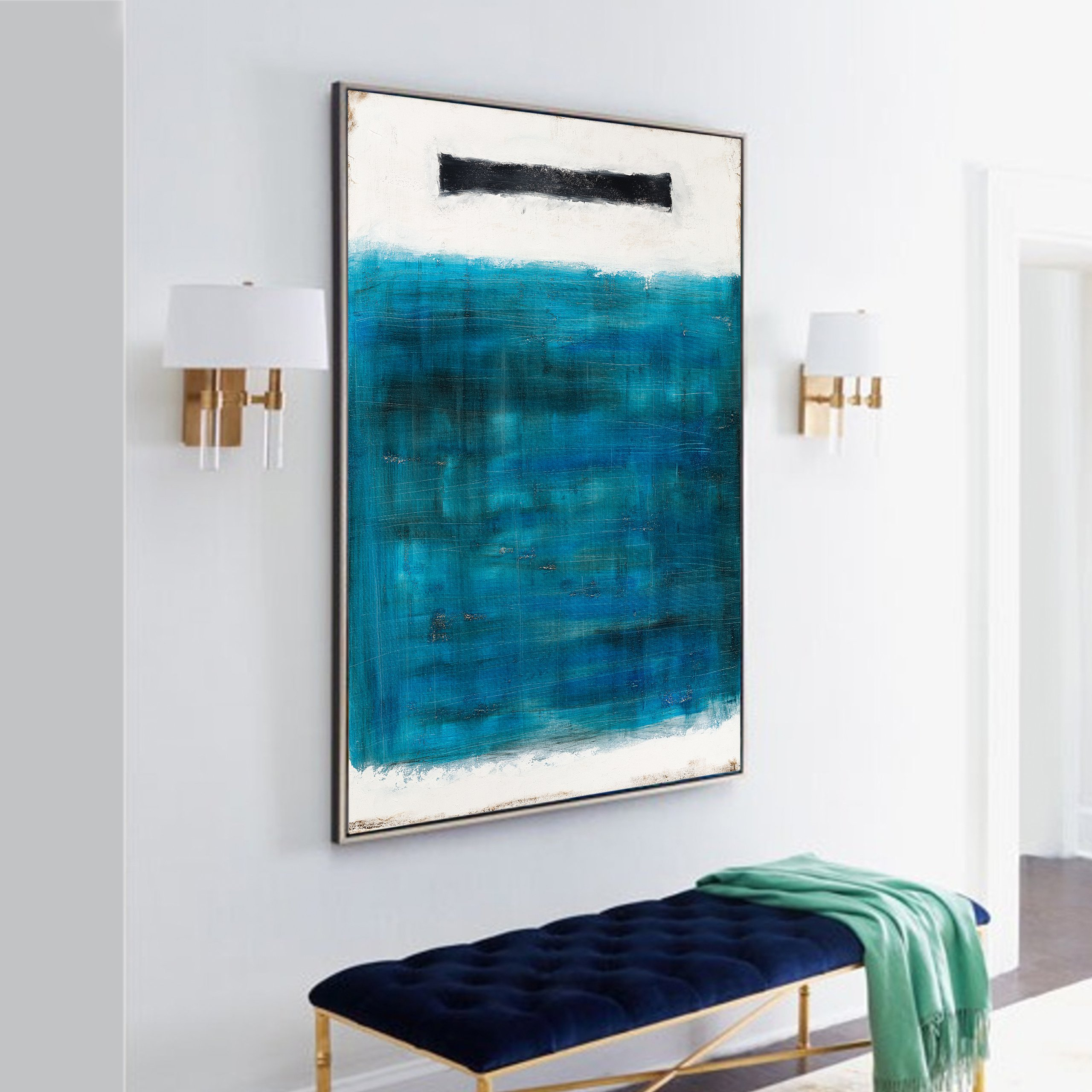 White and blue abstract painting on canvas