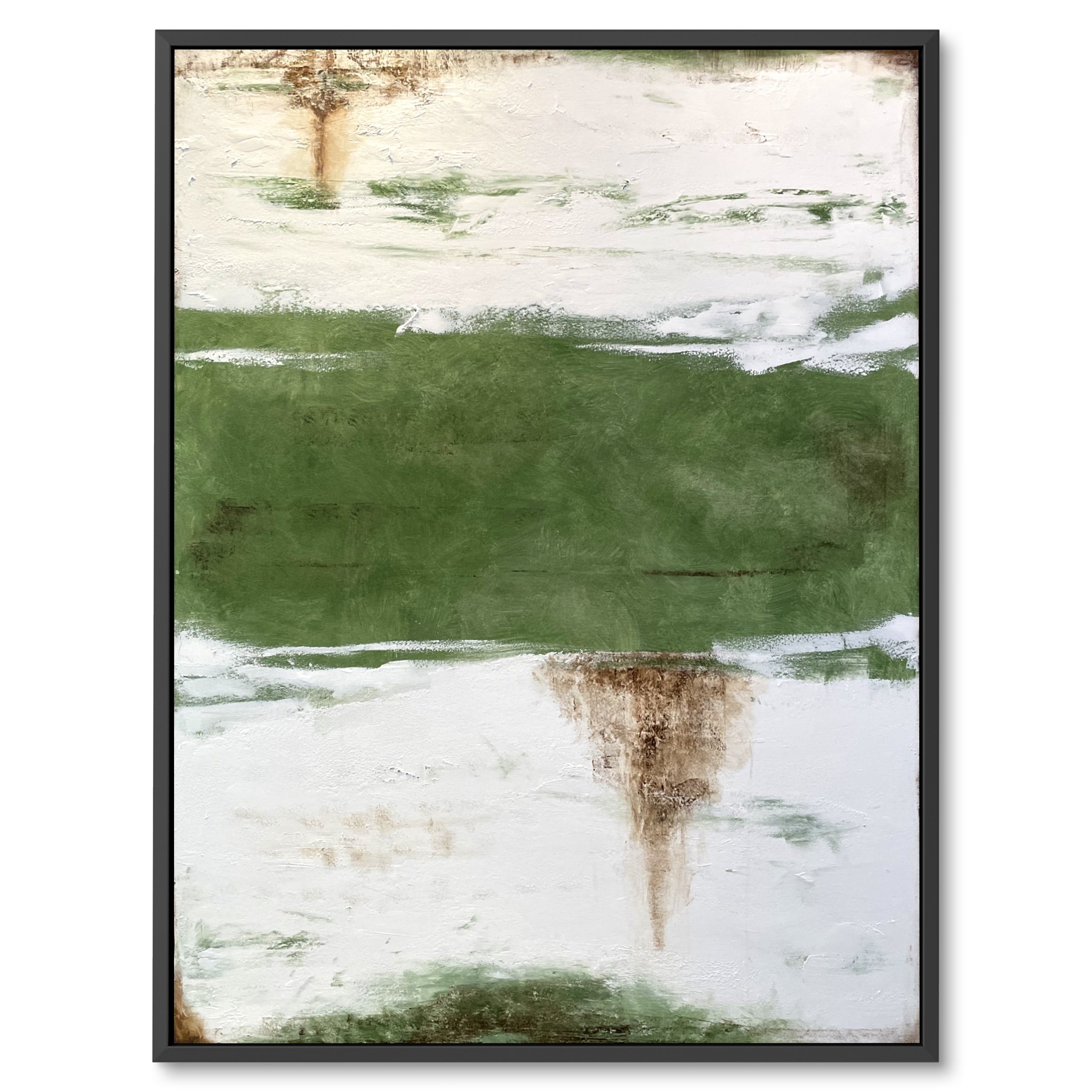 Dark green modern abstract art - duo tone art by benny moshe for home decor