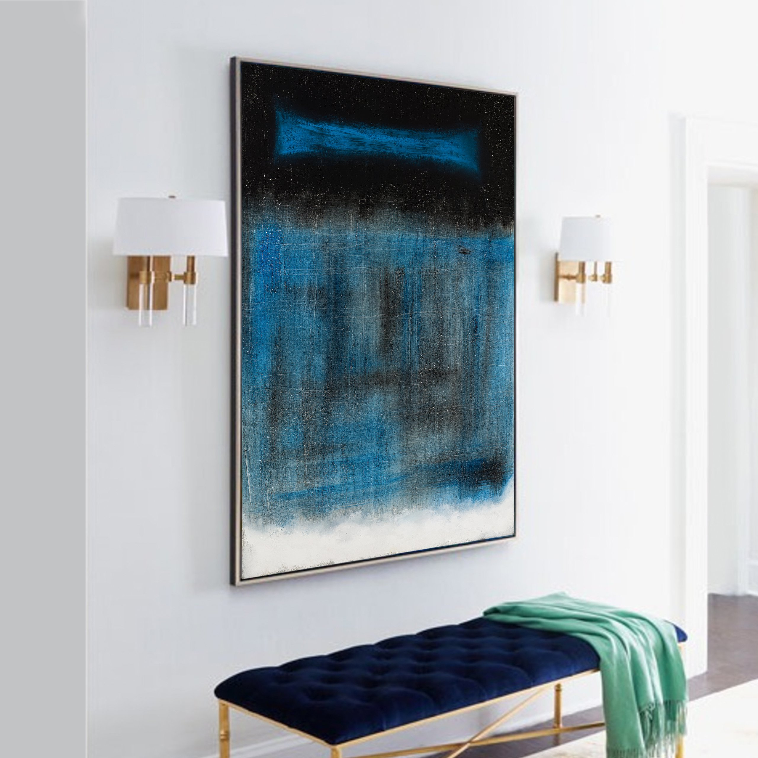 Black white and blue abstract art for home decor