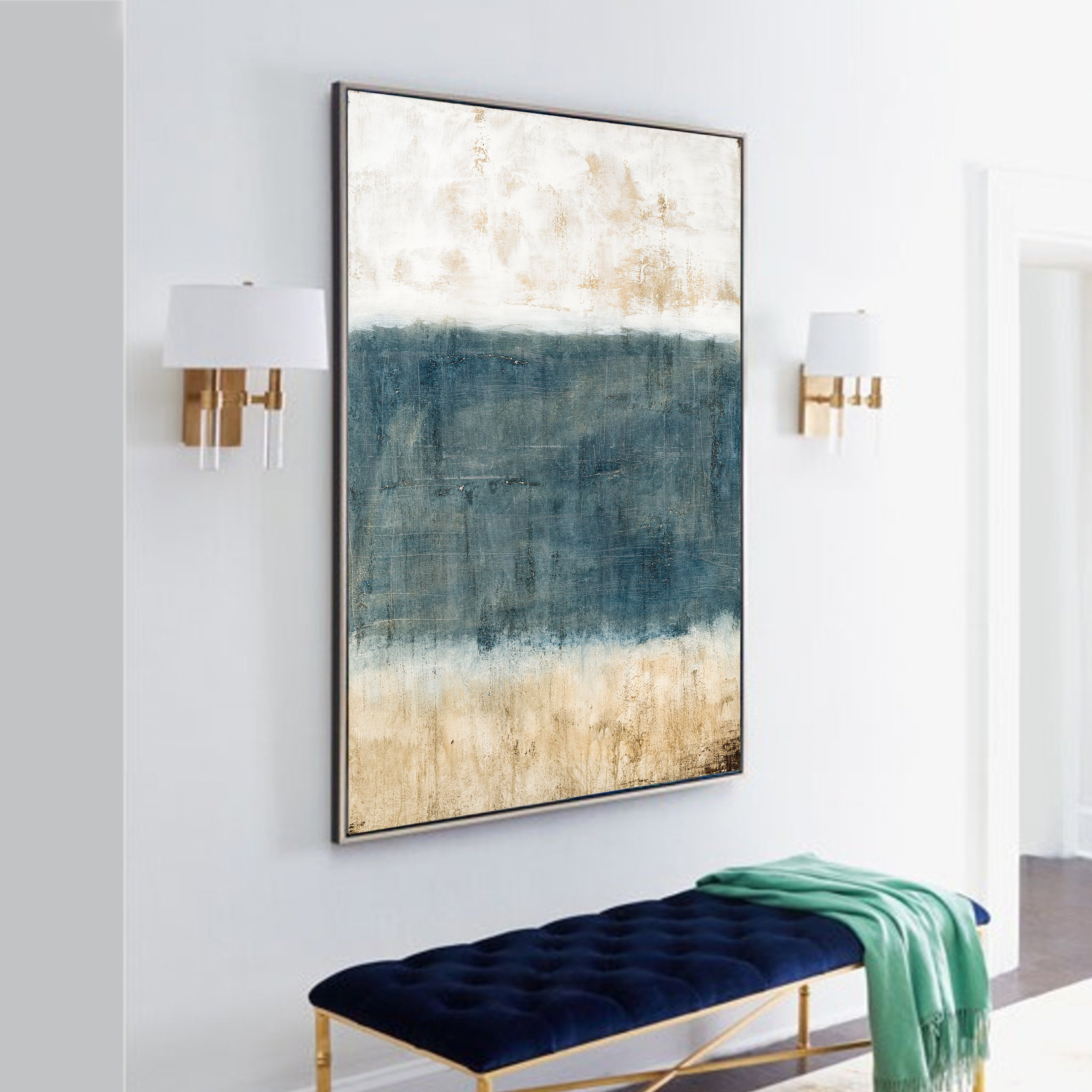 3 tones abstract art for wall decor and interior design
