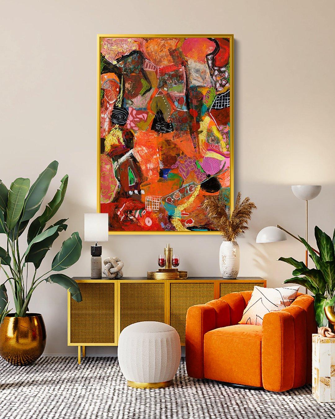 Abstract art in interior decor inspiration, Wall art, Modern painting, orange, vibrant