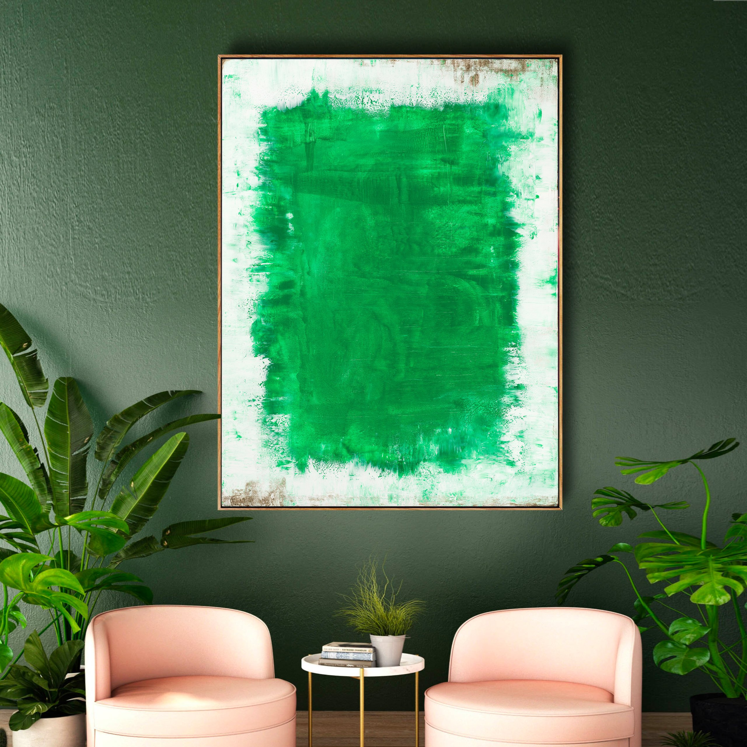 Abstract art for home decor white and green