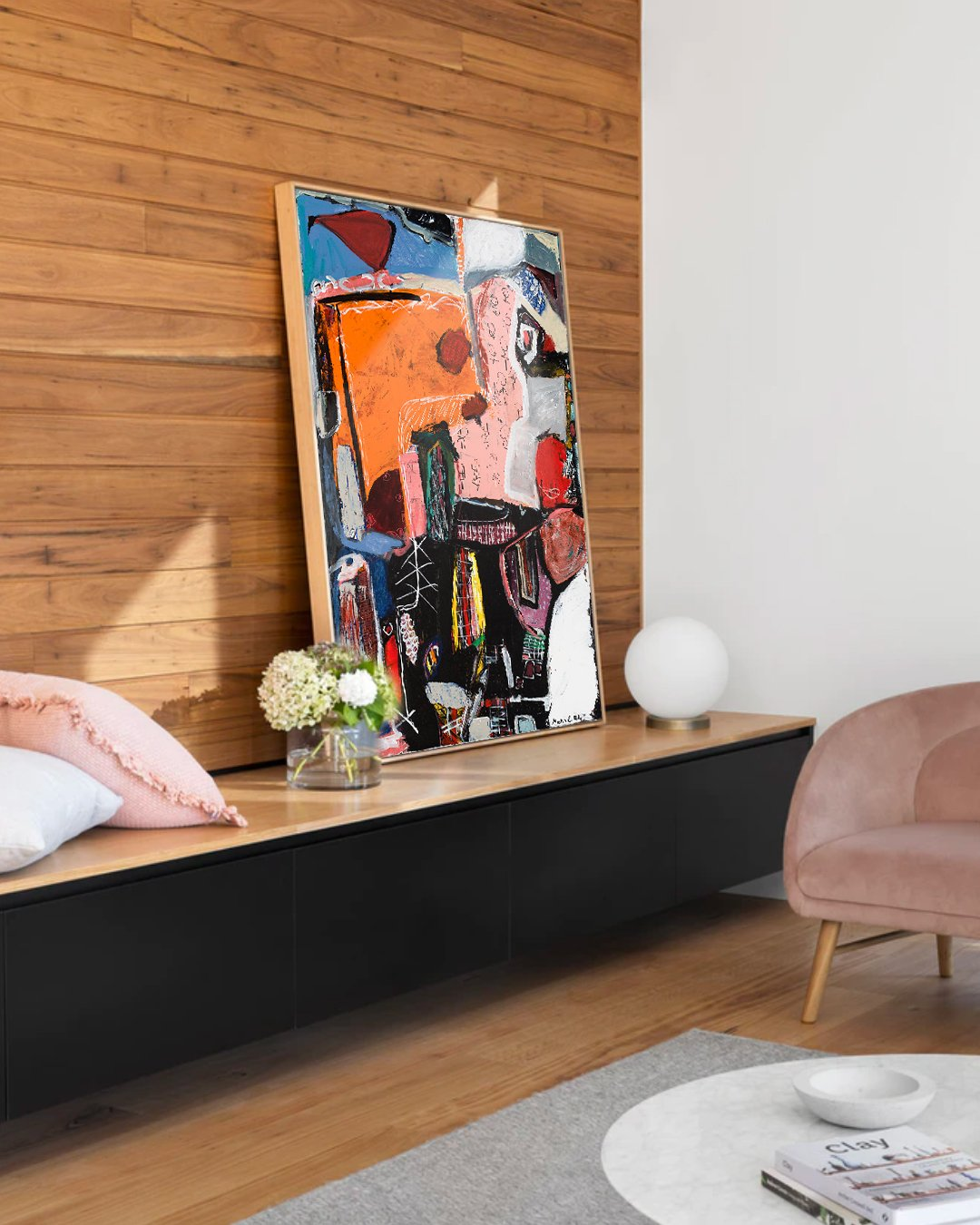 Abstract painting in interior design, home decor inspiration, Wood wall art