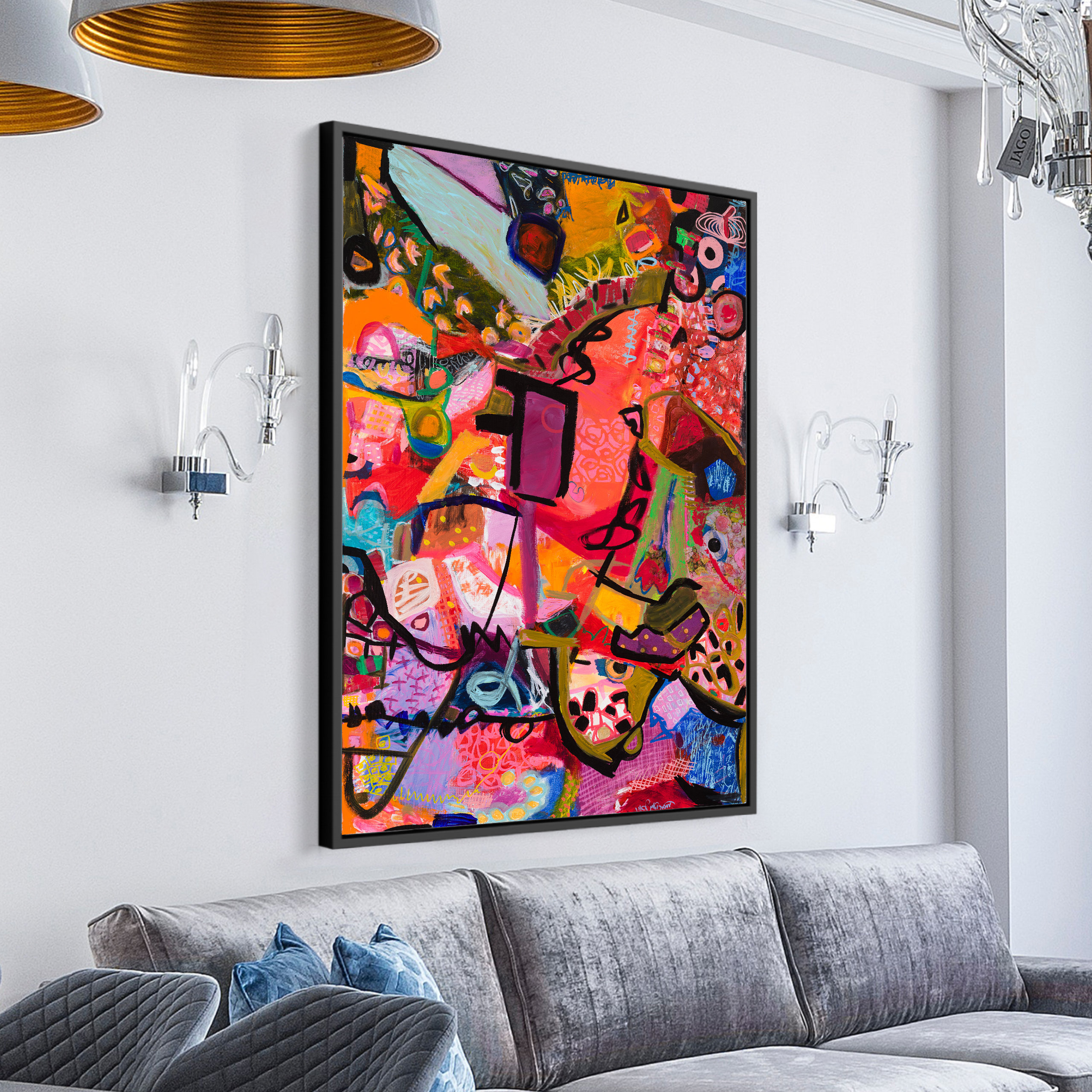 Colorful vibrant modern abstract art for wall decor