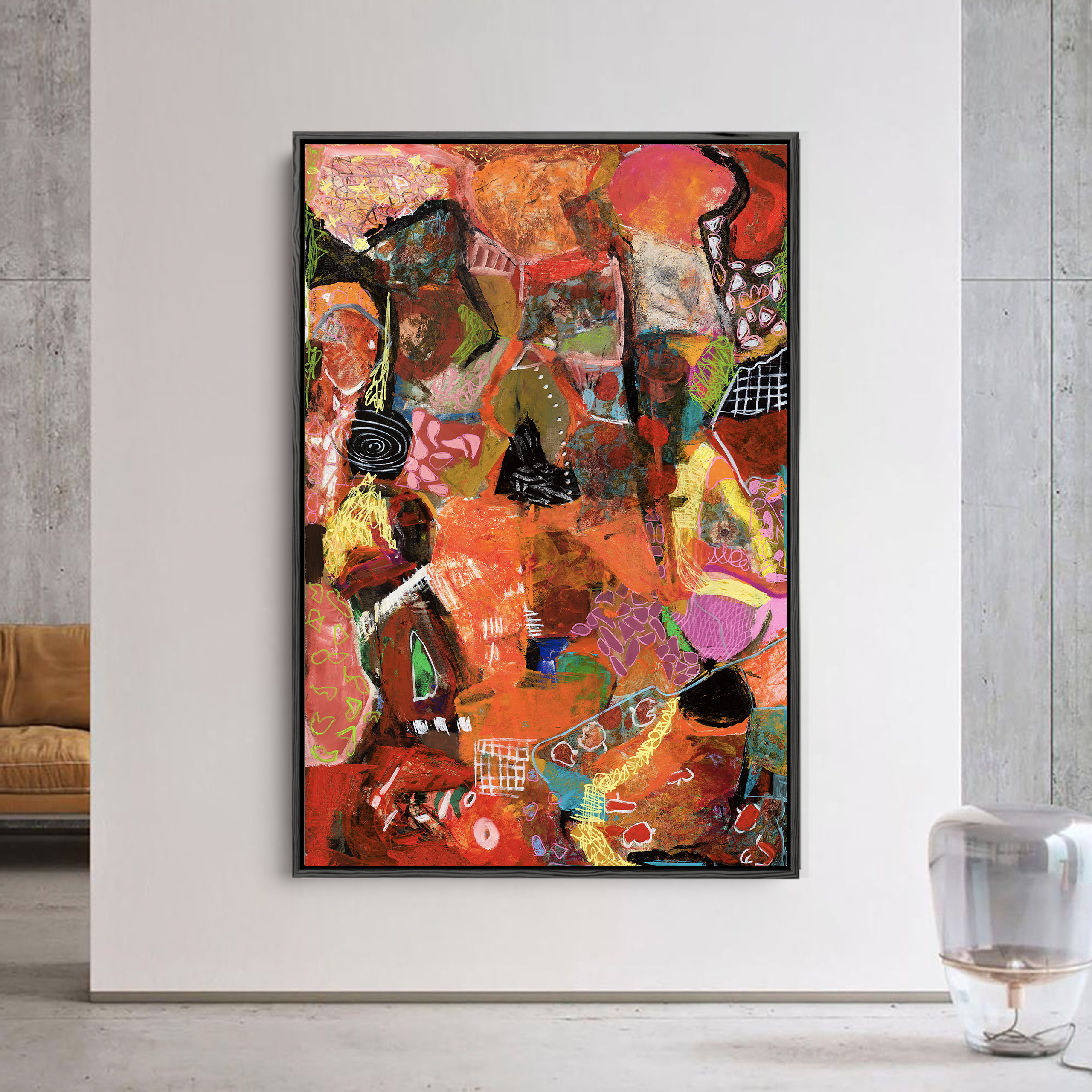 Fire and brimstone red bold abstract art for home decor