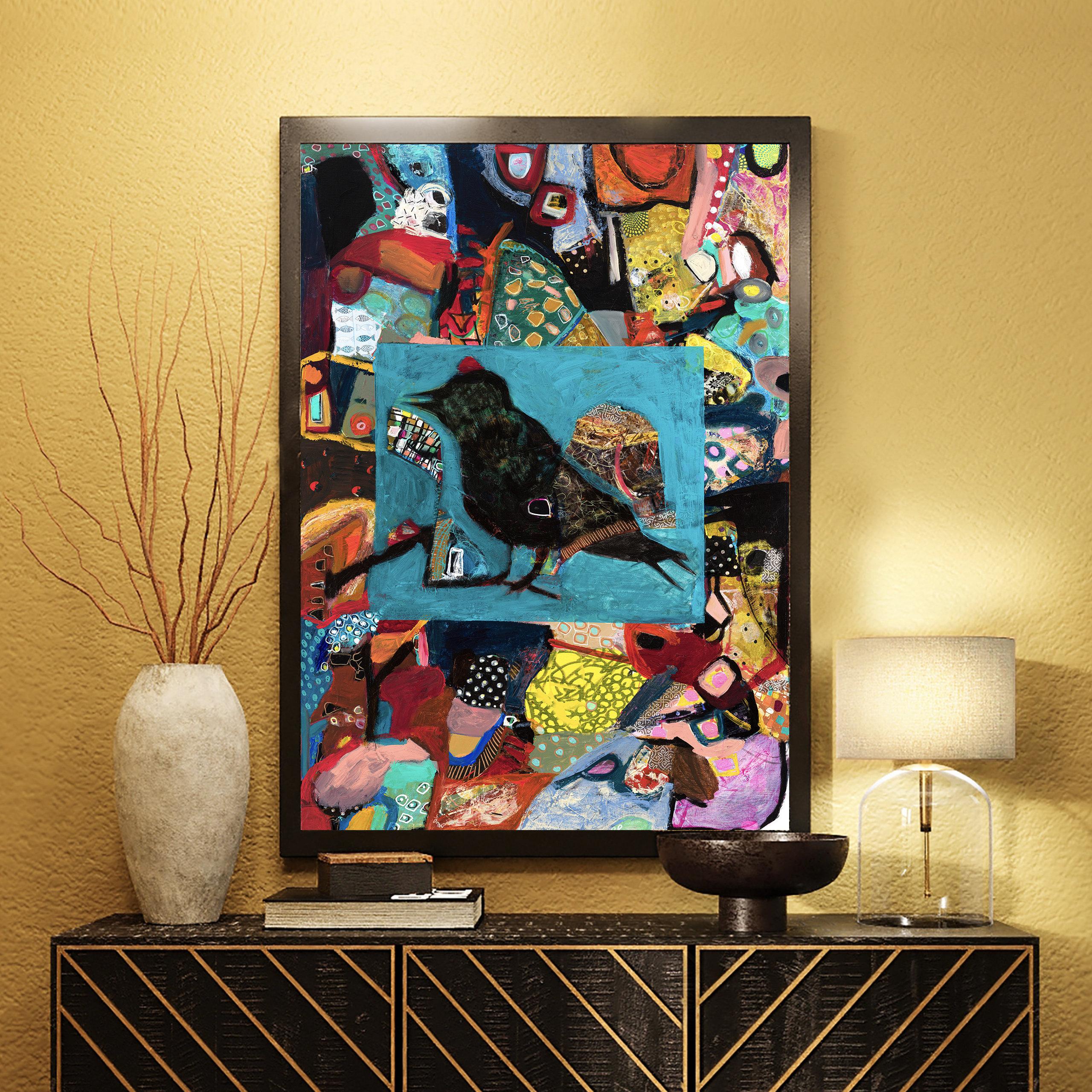 bird abstract art, sparrow, interior room decor