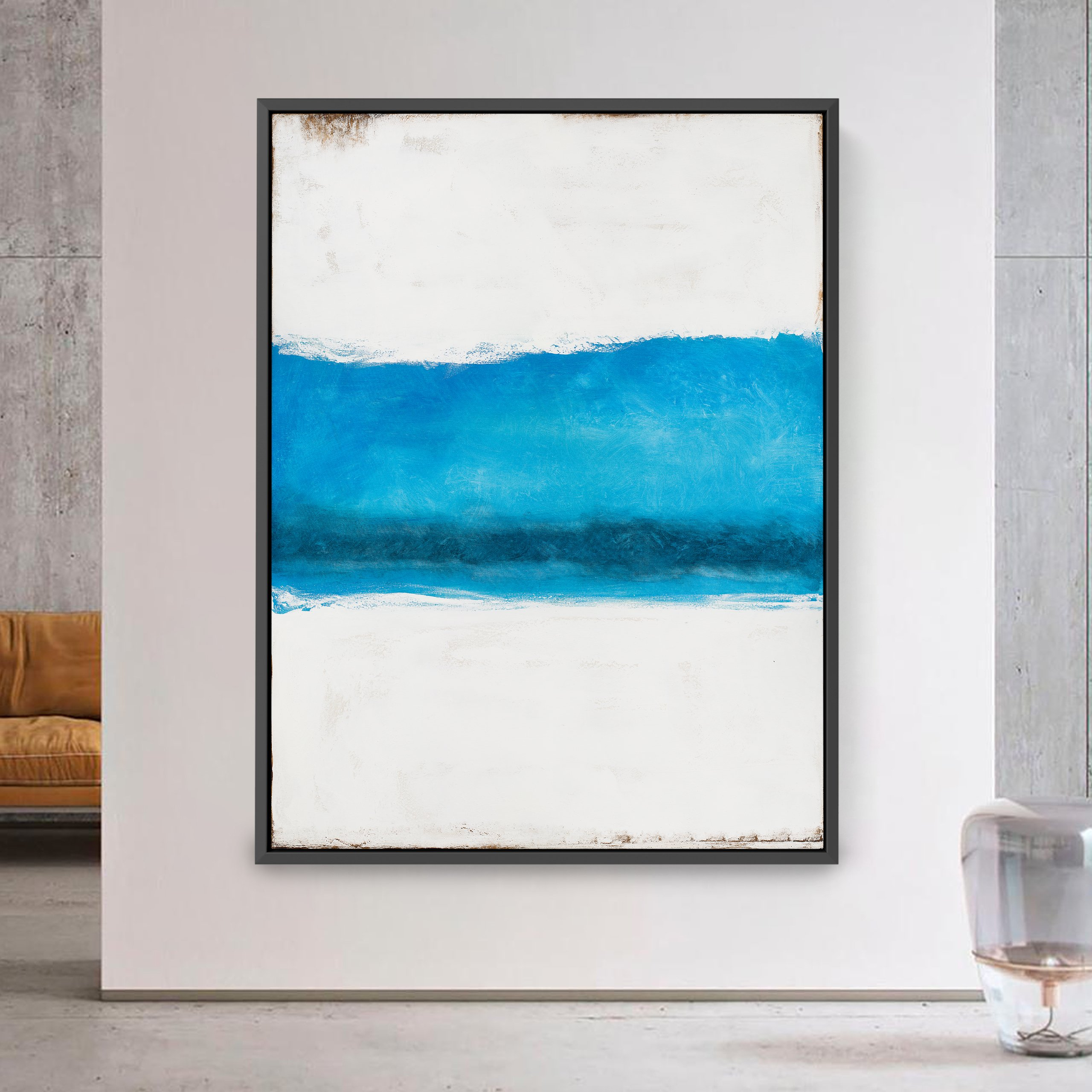 Abstract art white and blue for interior design