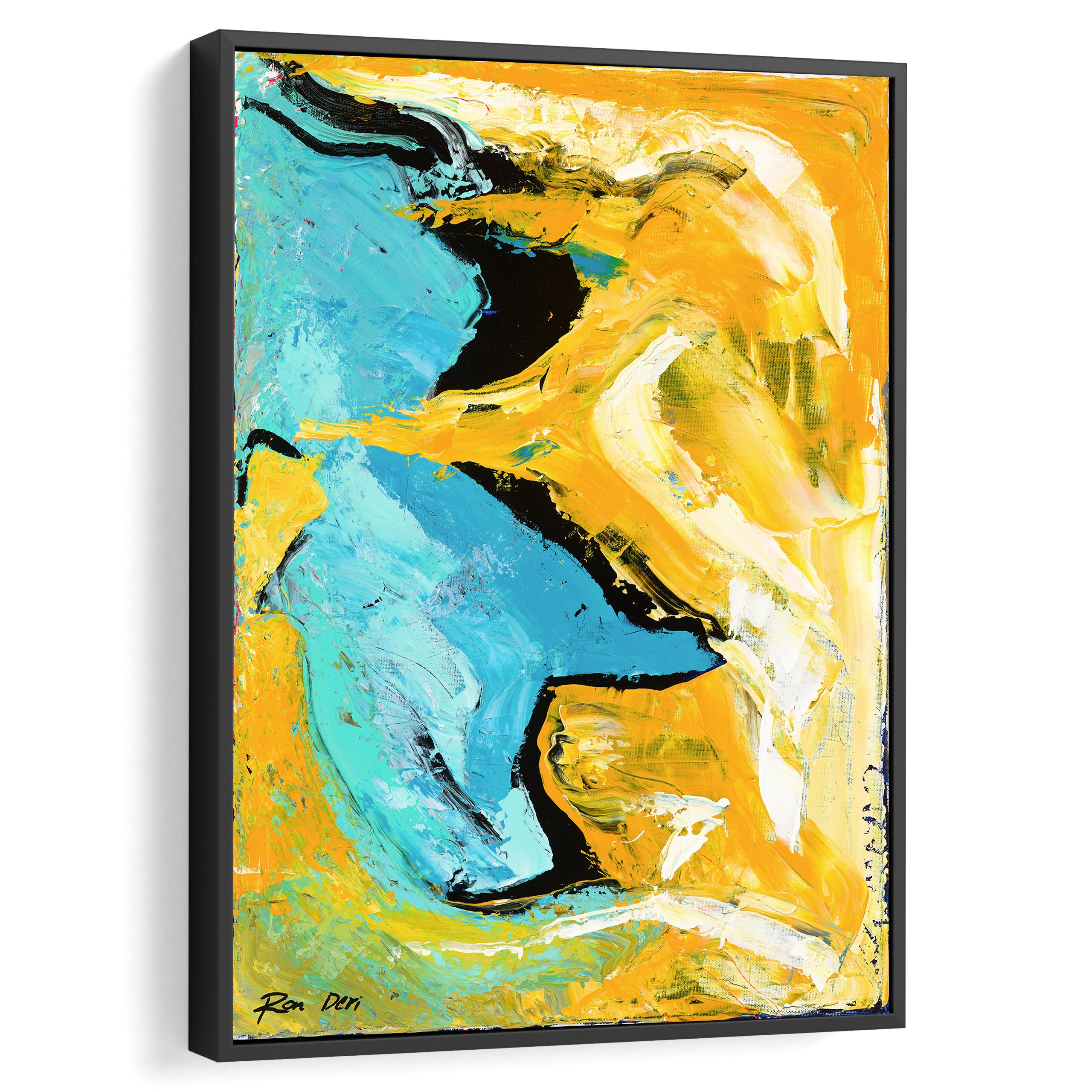 Gold and blue abstract art for interior design and wall decor