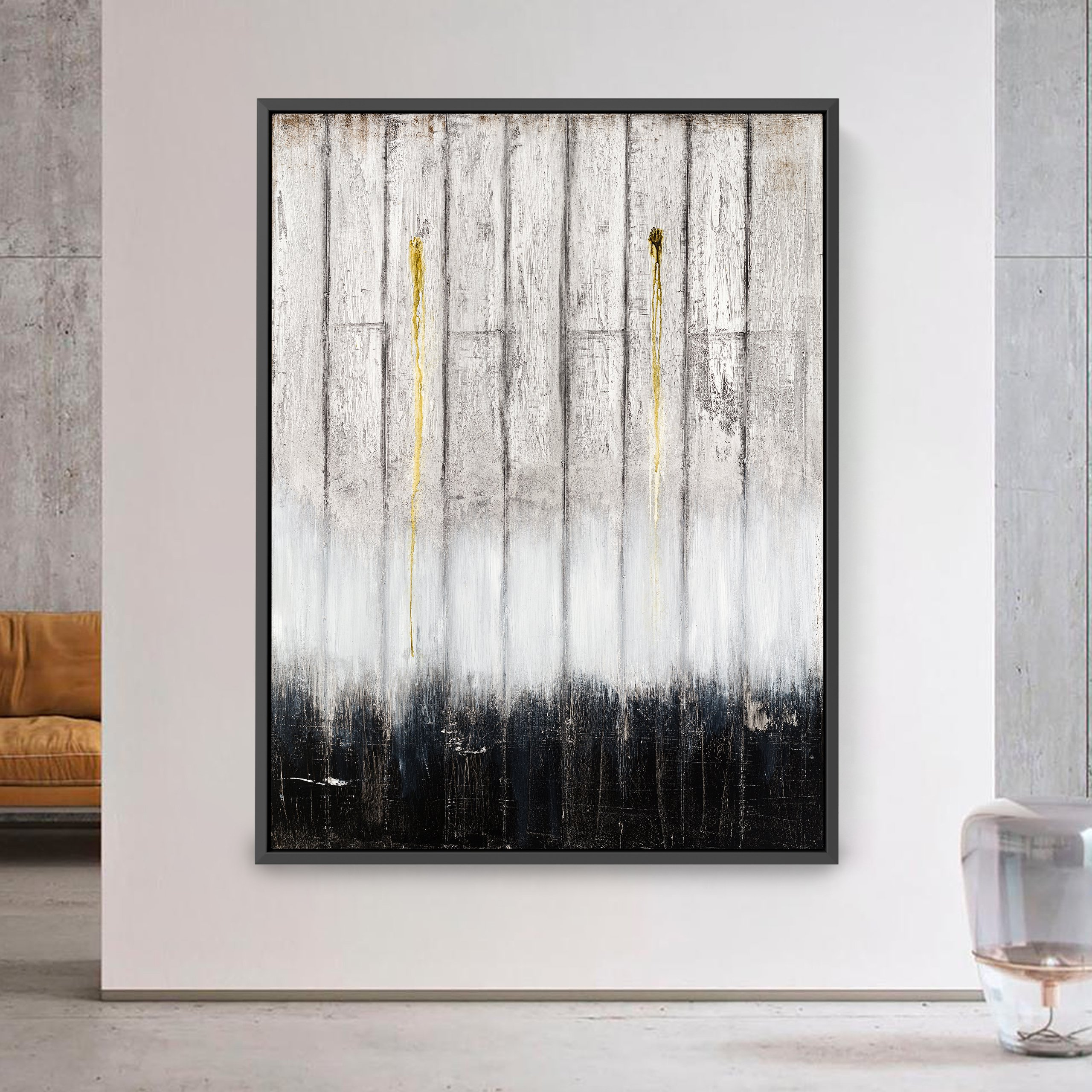 Black and white abstract art from interior decor