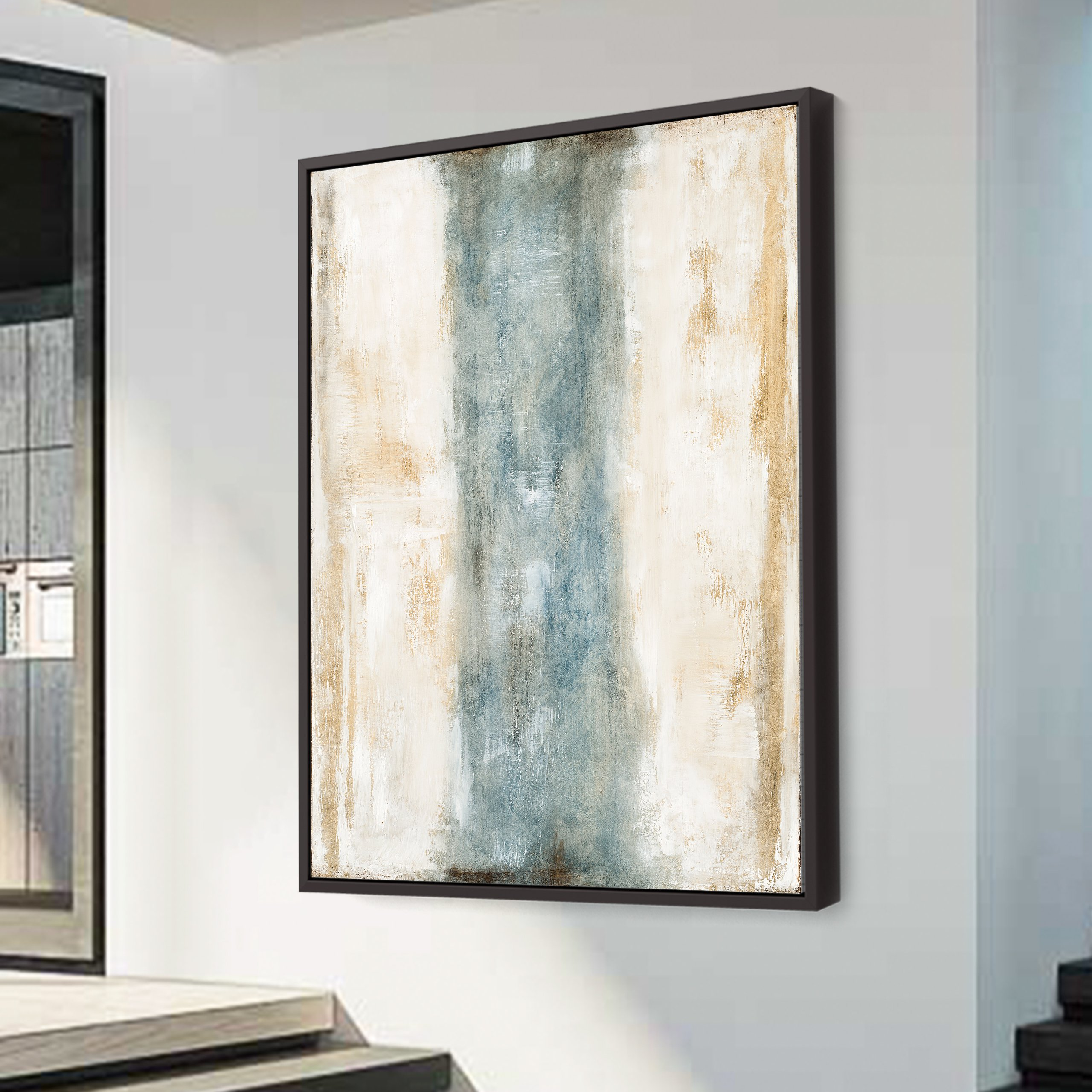 White and light blue, teal abstract art for wall design and decoration