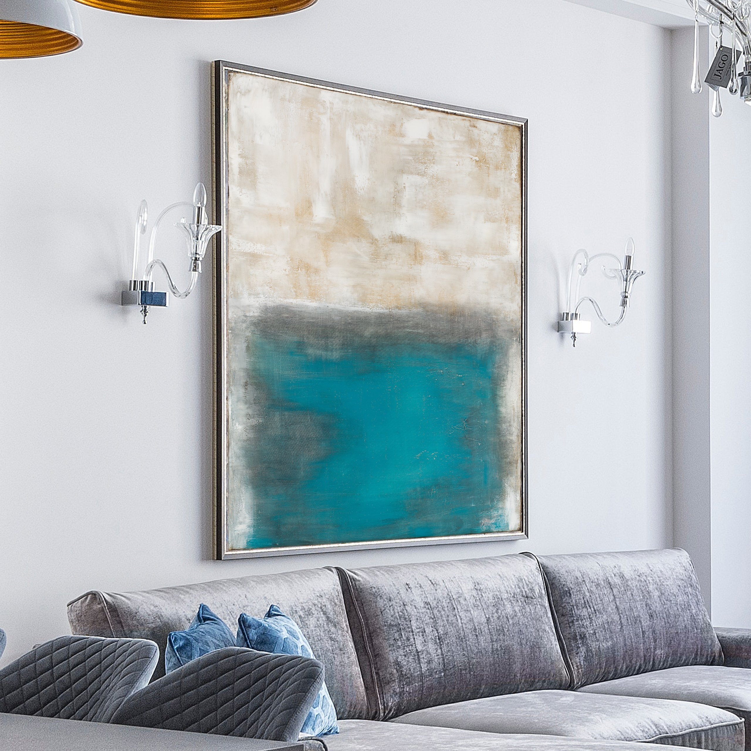 Light blue and white abstract modern art