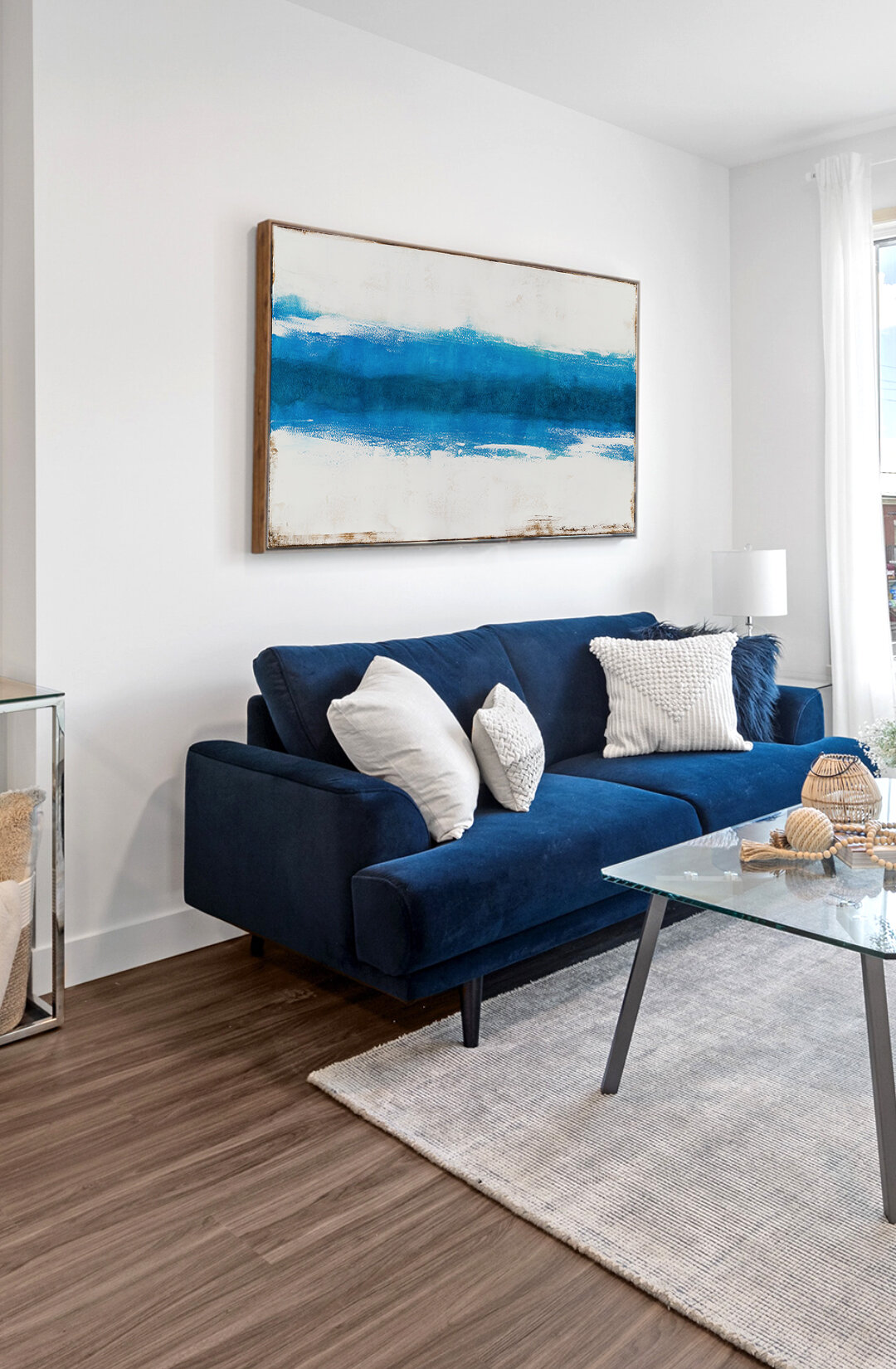 White and blue abstract painting for wall decor and interior design