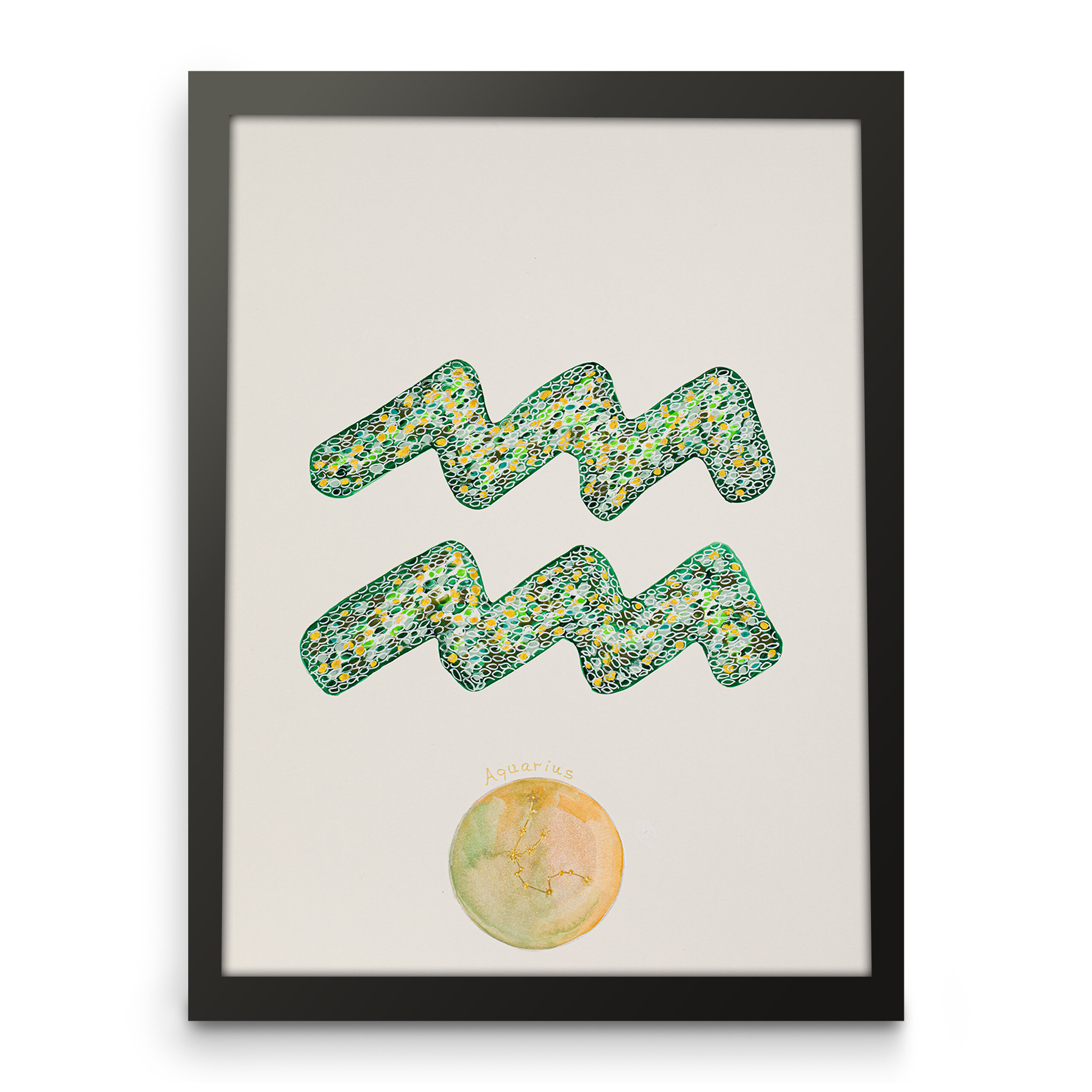 Zodiac art, Aquarius zodiac sign, Framed front view