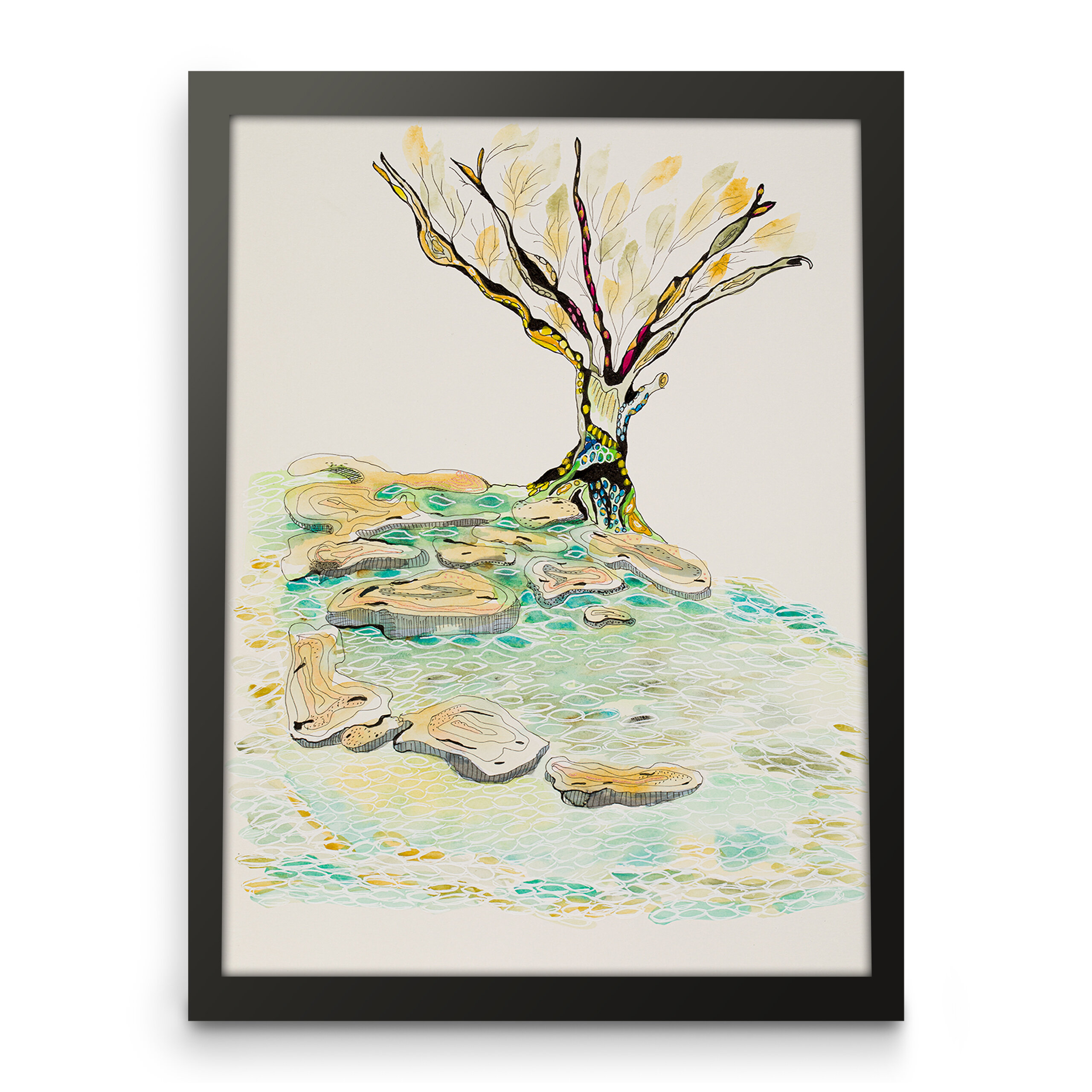 Nature art, Landscape art, Tree on a hill, Framed front view