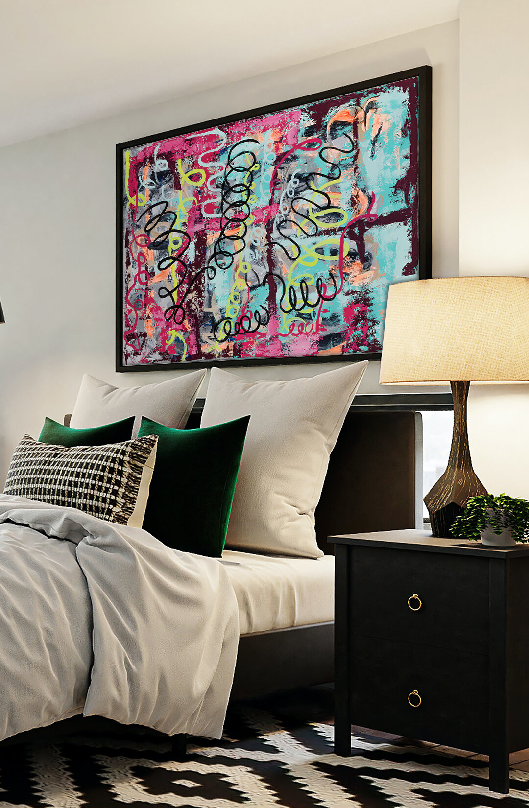 Bed room decor inspiration - contemporary art