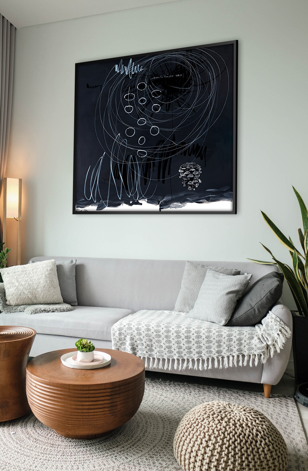 Black and white abstract art wall decor inspiration