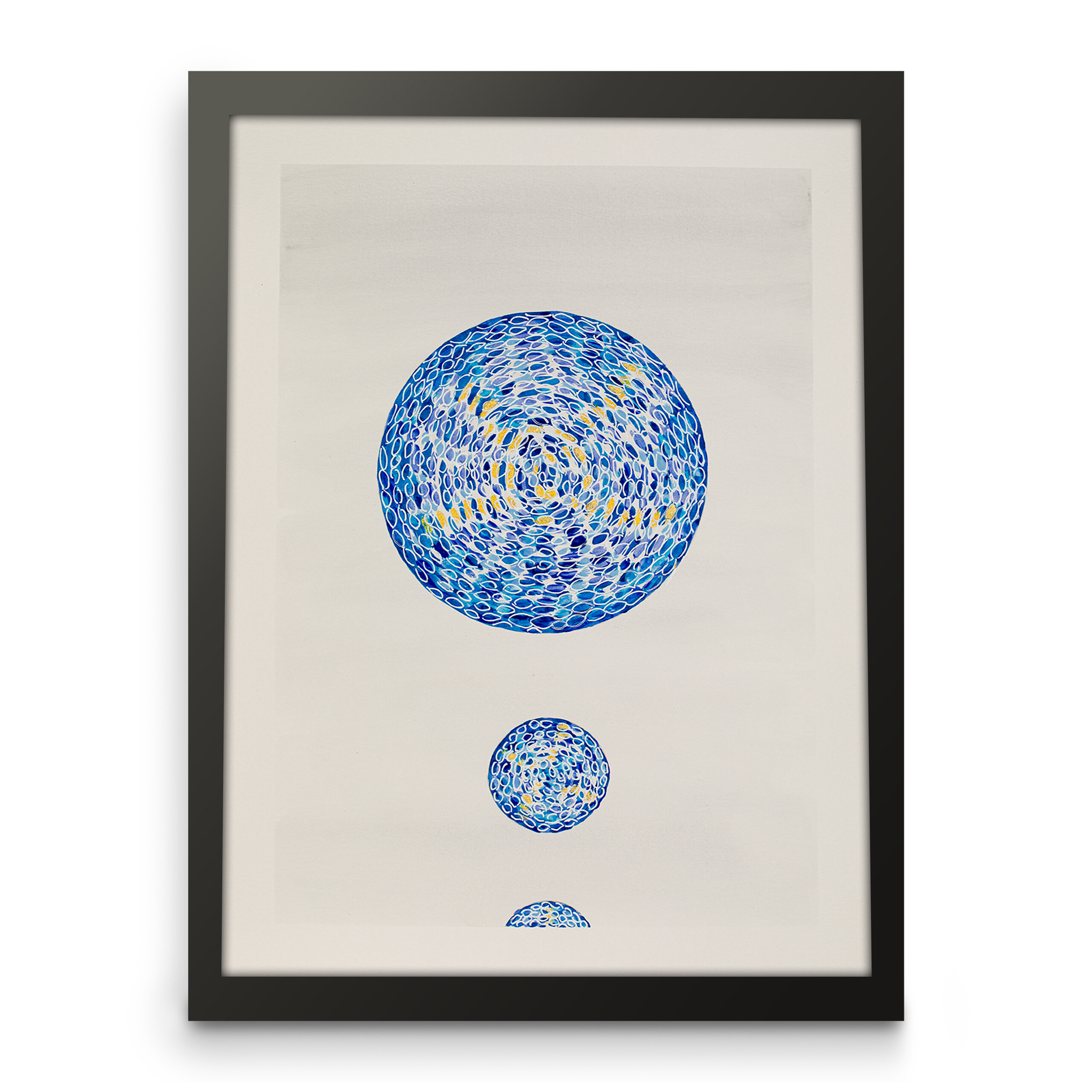 Blue abstract art paper print for wall decor, Front view