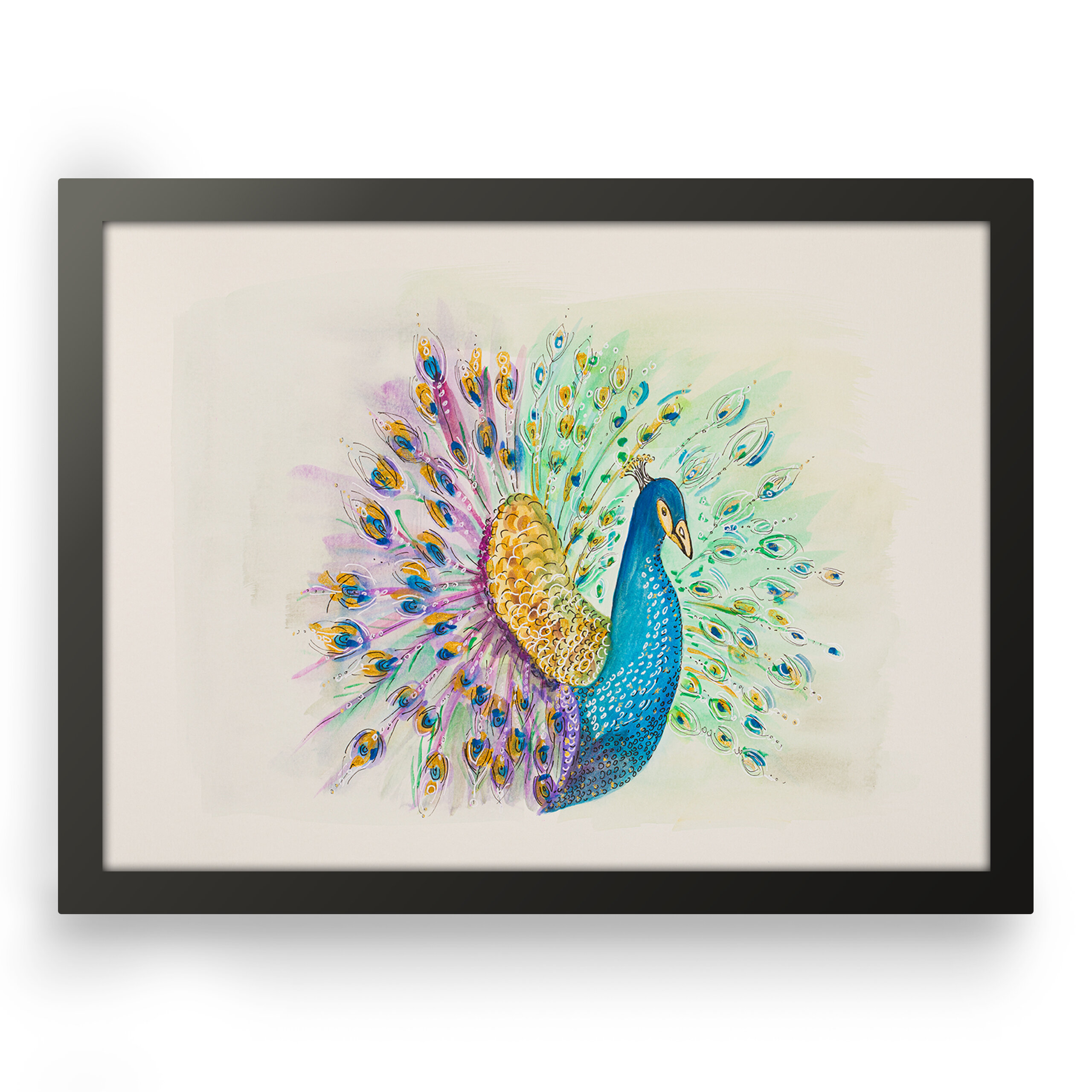 Peacock animal abstract art, Front view