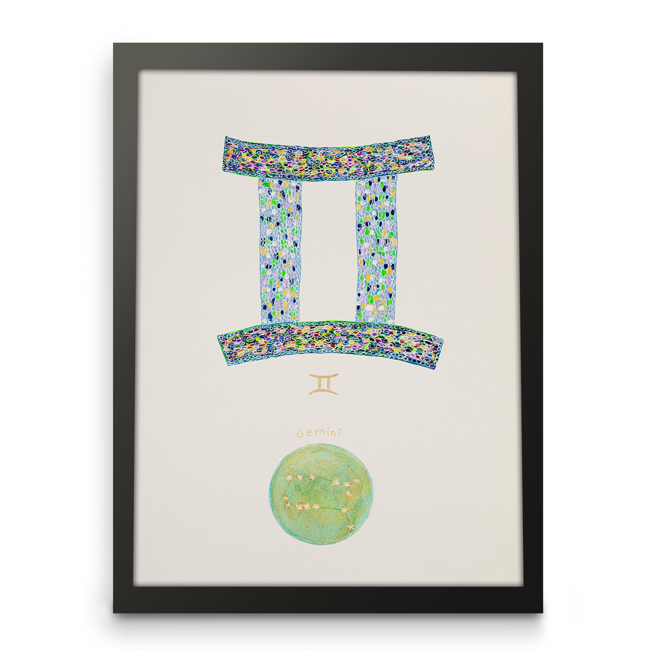 Gemini zodiac art, Astrological sign art, Horoscope art, Framed art front view