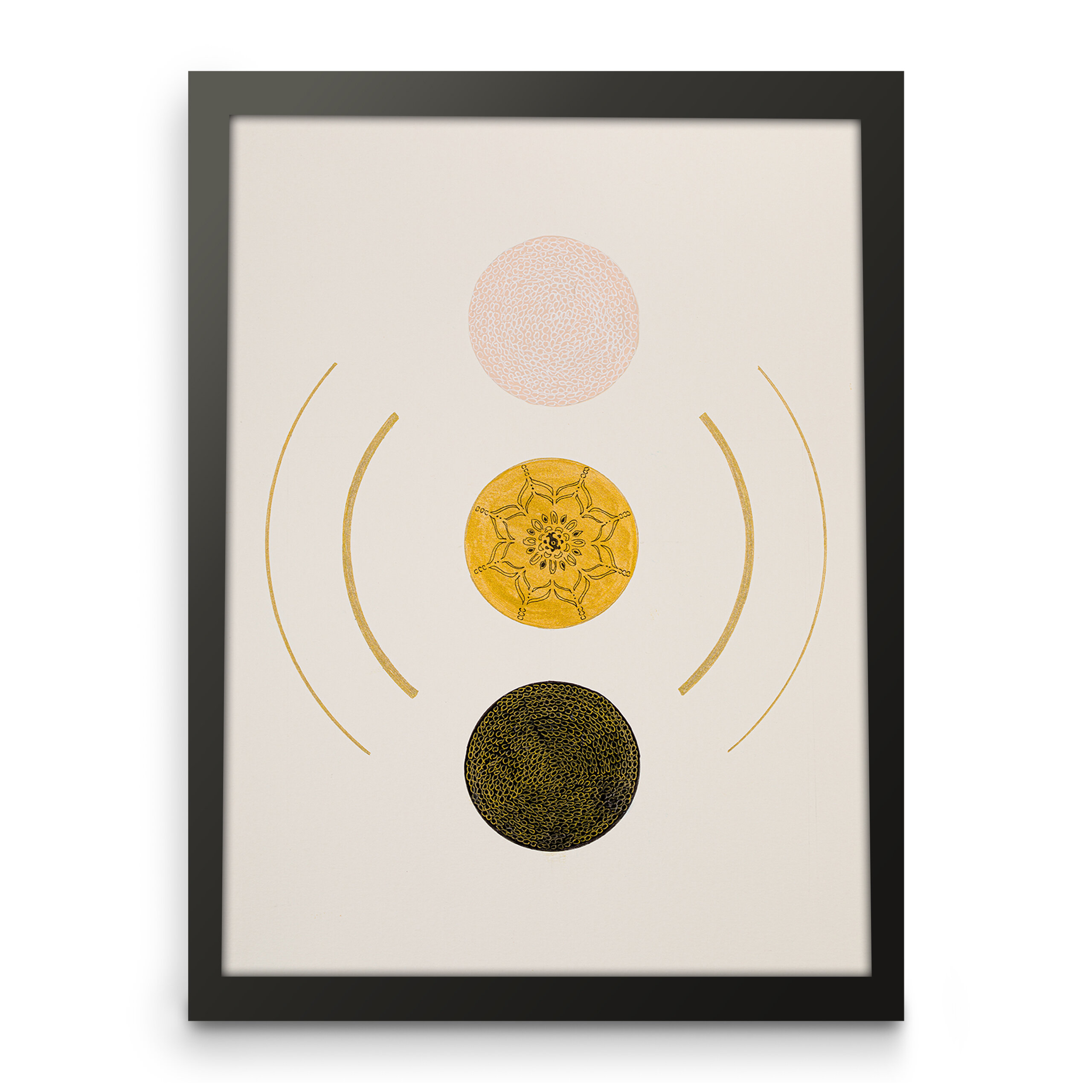 3 vertical circle orbs, pink, gold and black, Framed front view