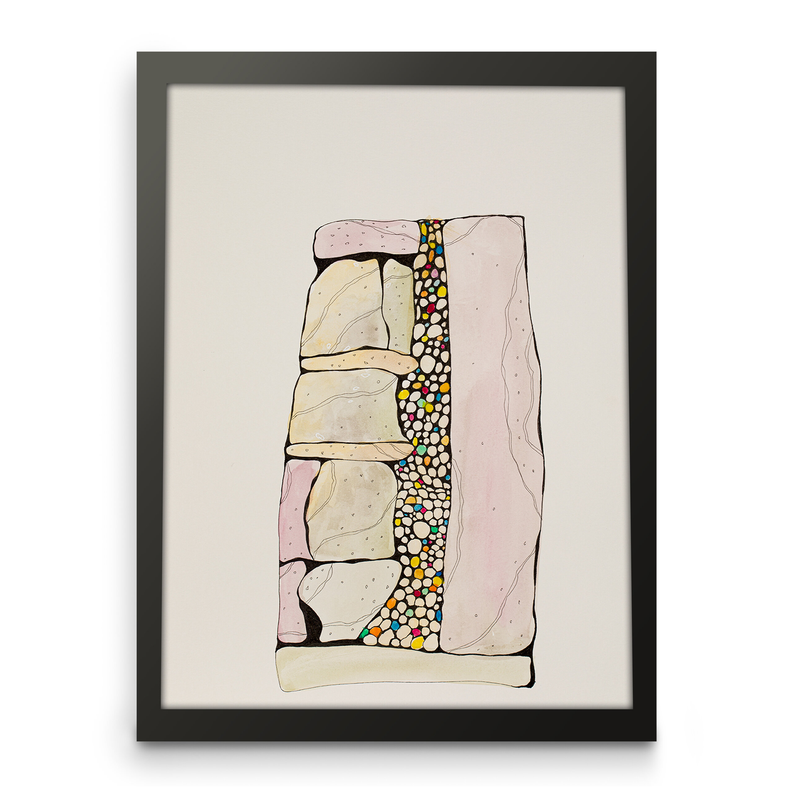 Framed art print on paper for home decor. front view