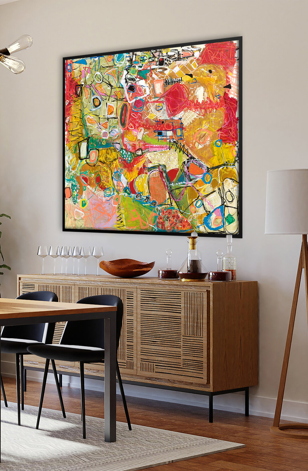 Large modern abstract art for interior decor inspiration