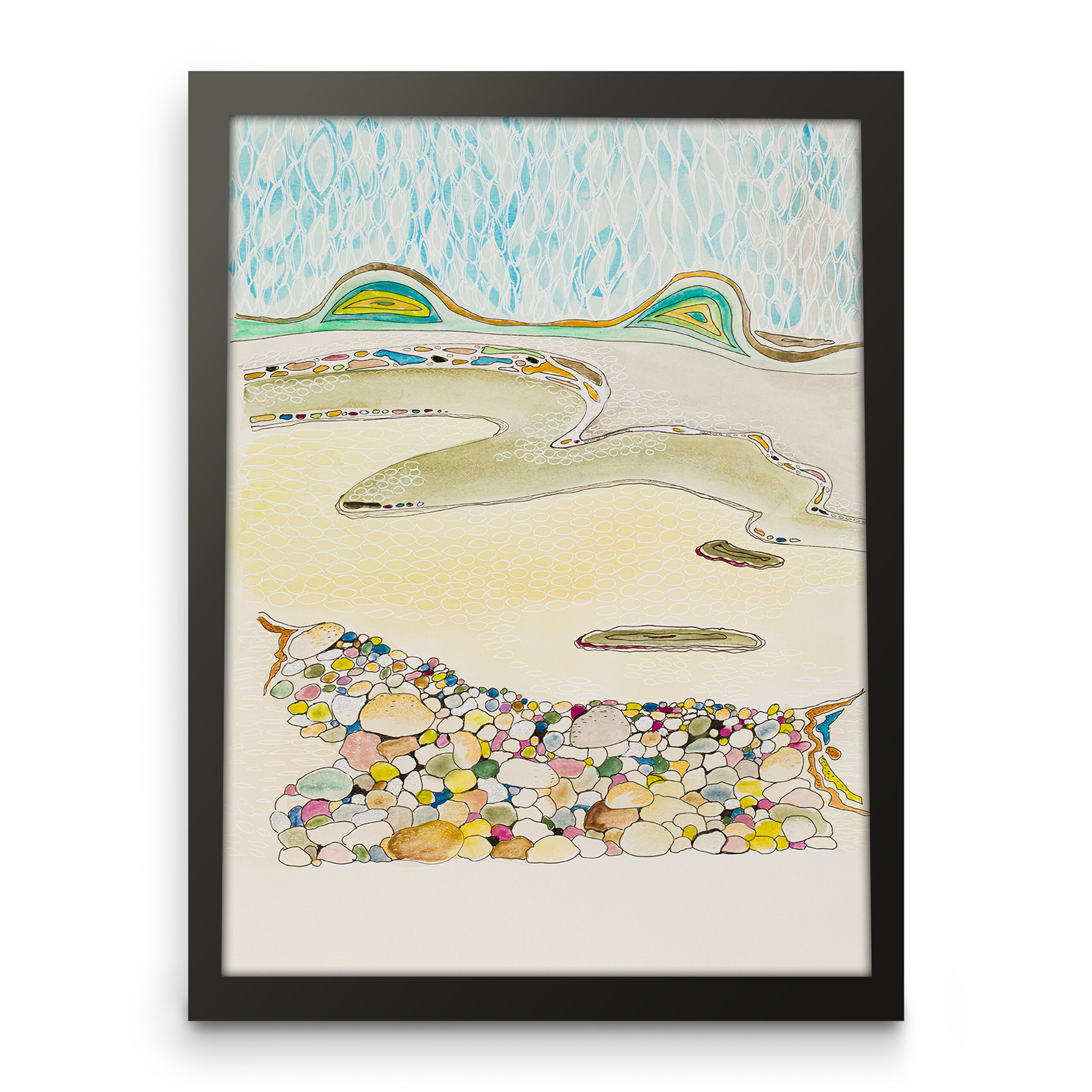 Landscape nature abstract art, Paper print, Front view