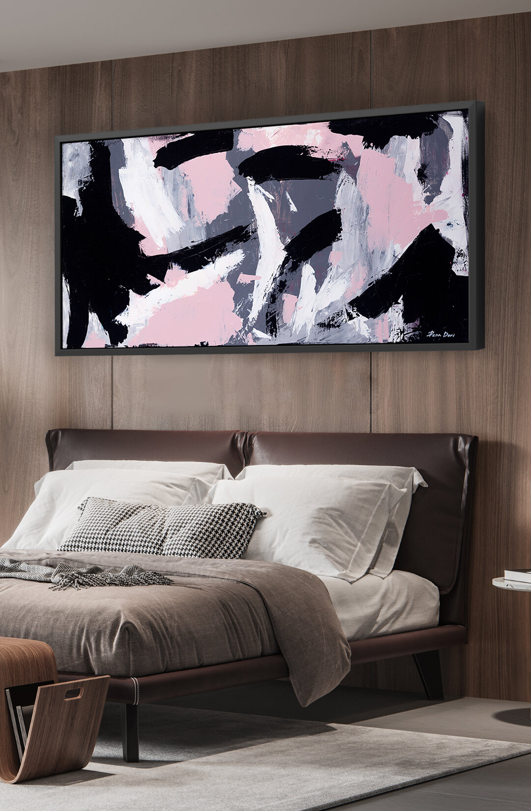 Very wide abstract art wall decor inspiration bedroom