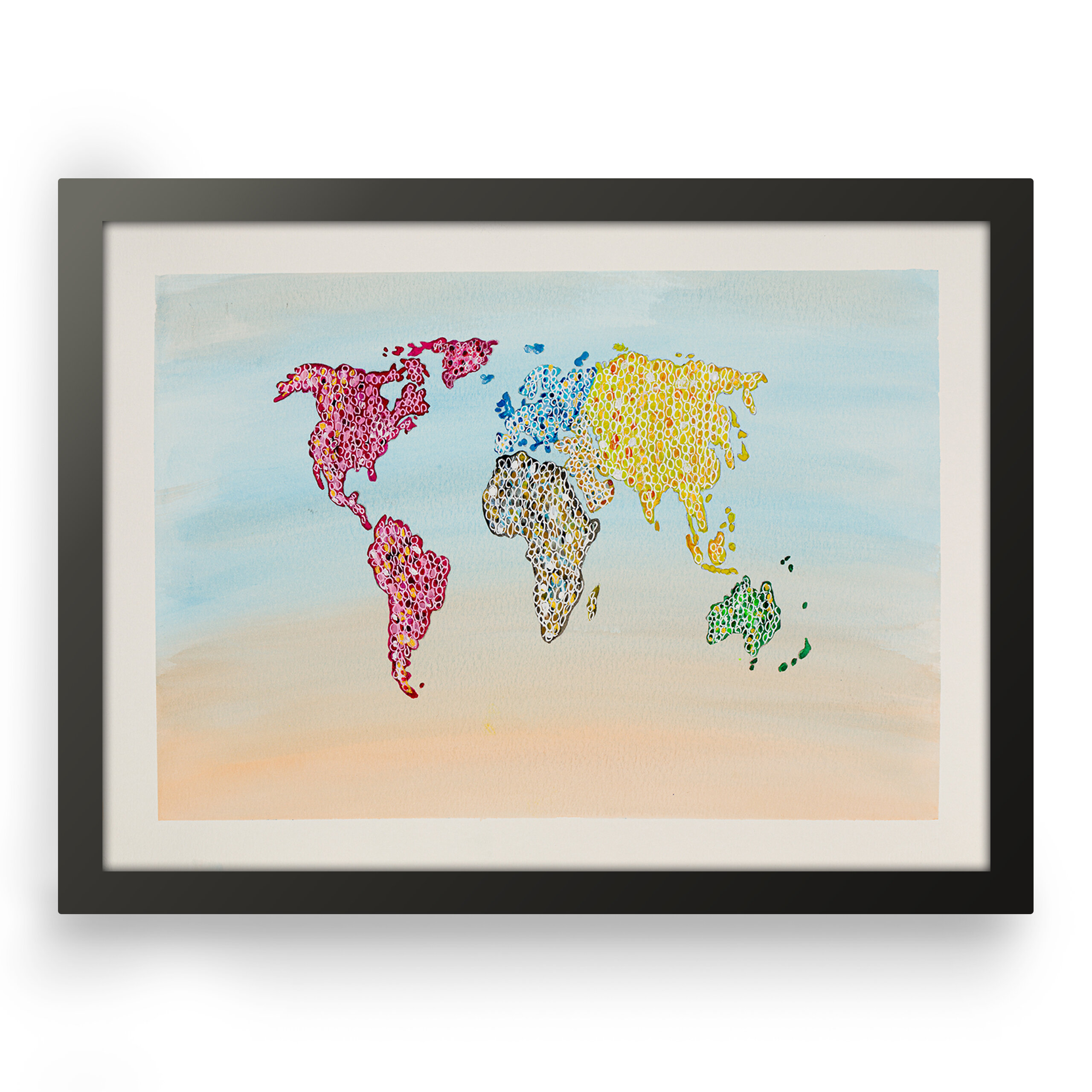 Abstract art world map, Front view